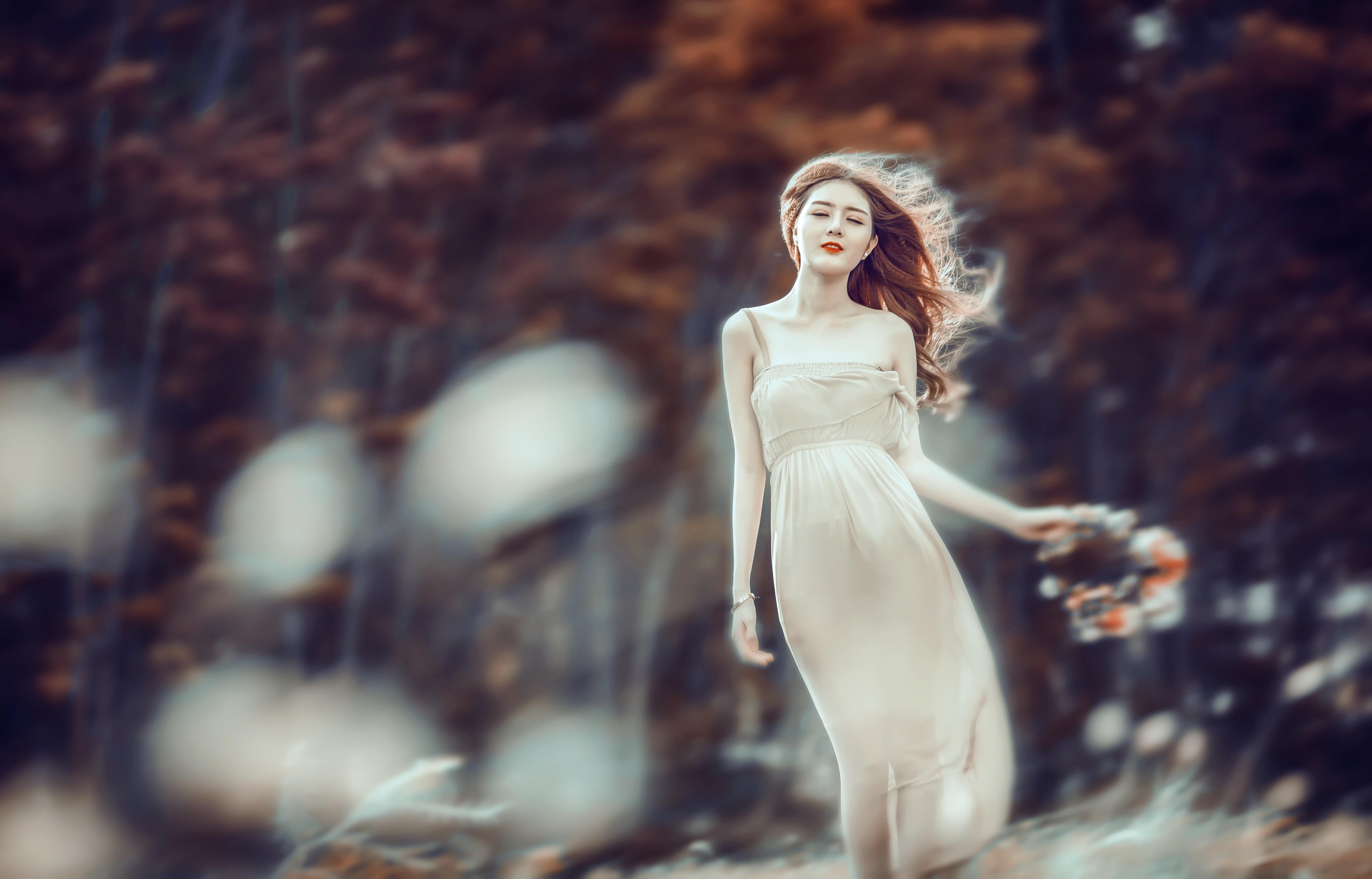 sunlight women outdoors women model Asian angel photography dress statue  fashion spring mythology autumn beauty season
