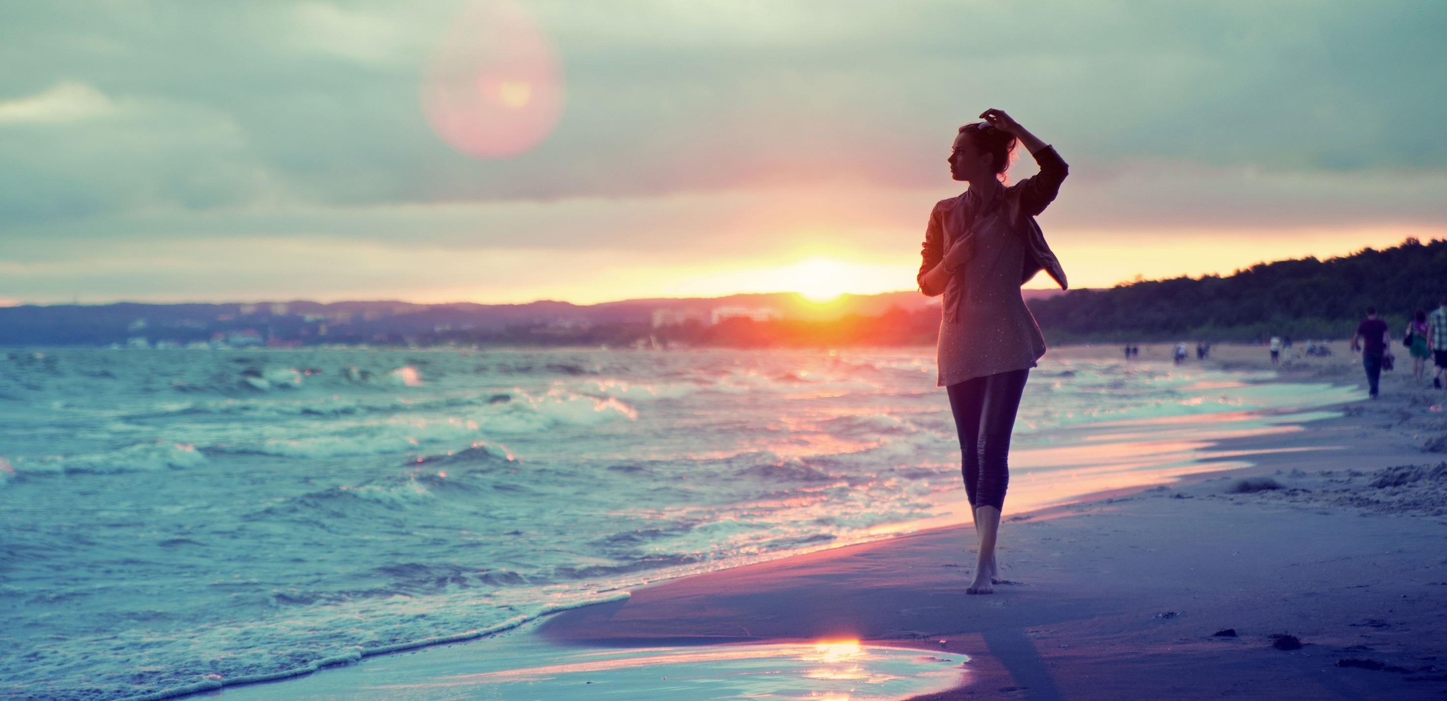 wallpaper : sunlight, women, sunset, sea, beach, sunrise, evening