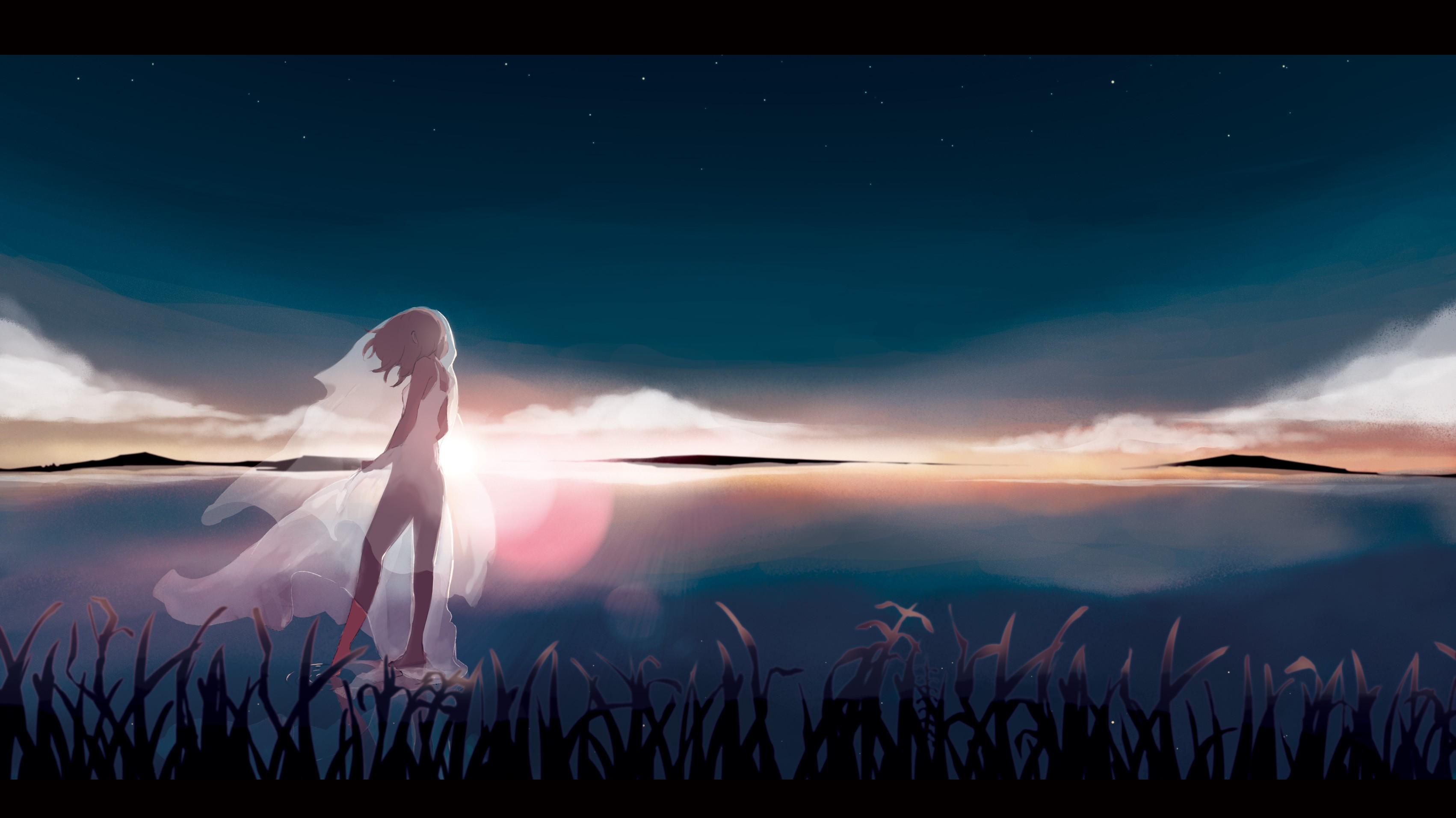 Wallpaper : sunset, anime girls, water, sky, white dress, sunrise