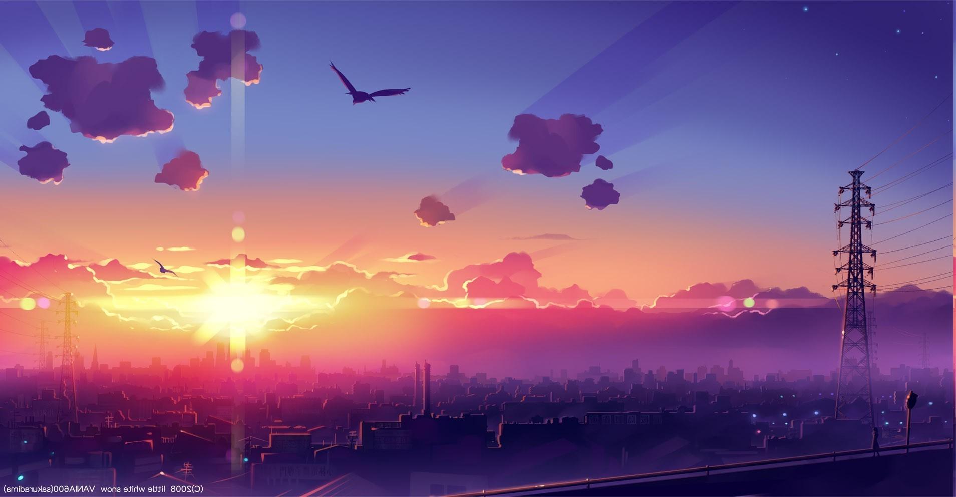 Sunset Architecture Anime Building Sky Sunrise Calm Manga Skyline Evening Morning Horizon Atmosphere Dusk Metropolis Cloud