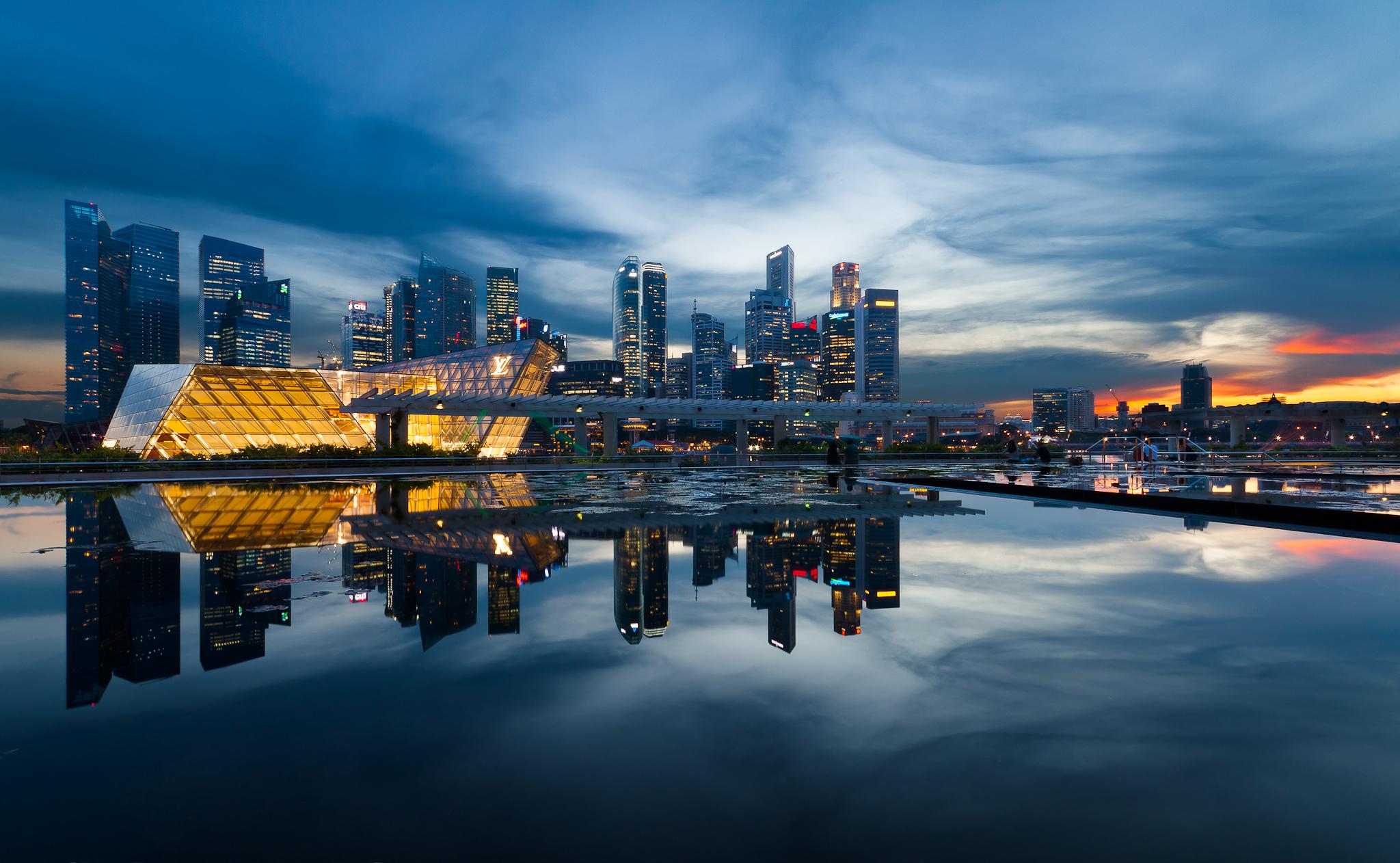 Wallpaper Sunset City Cityscape Night Singapore Water