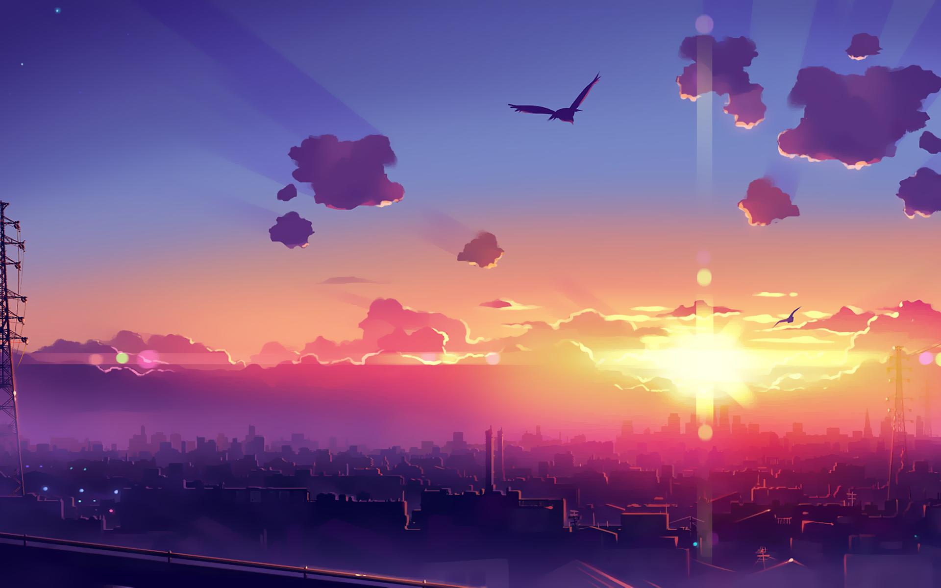 Wallpaper Sunset Cityscape Anime 1920x1200 Zanasea 1360827