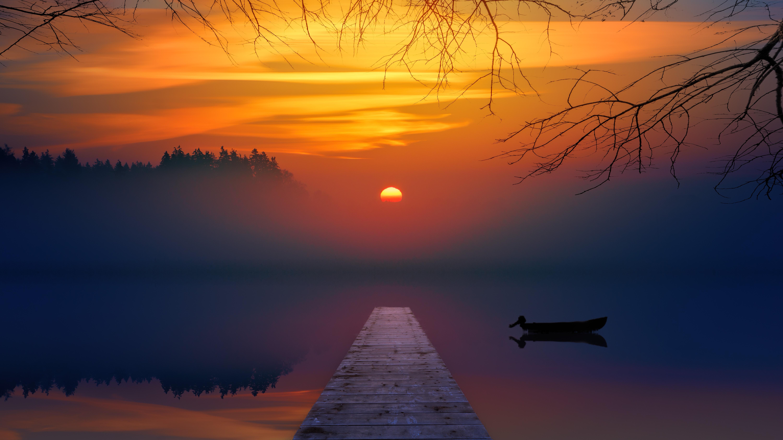 Открытки с закатом солнца, молнией