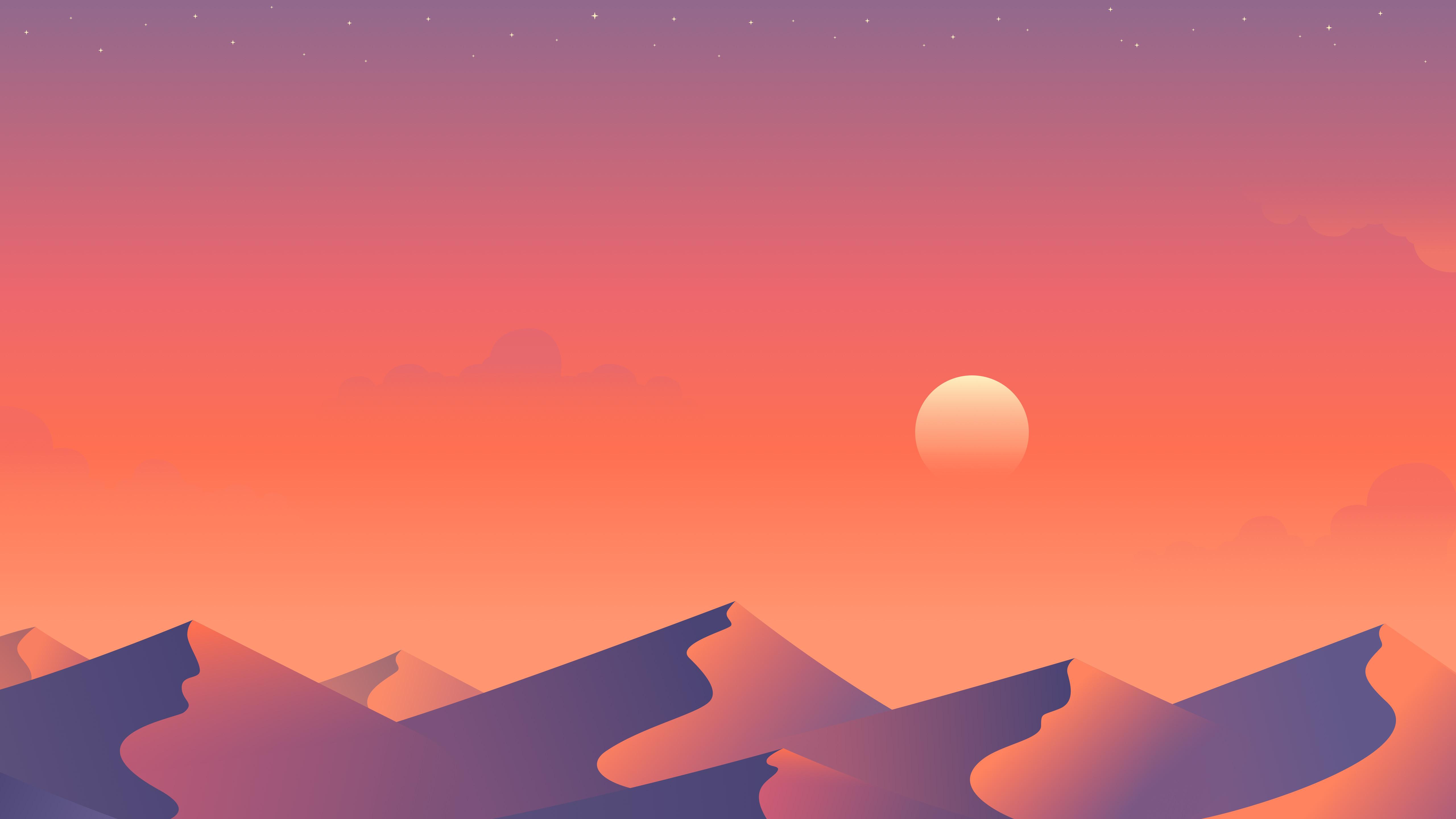 Wallpaper Sunset Digital Prints Landscape Mountain Pass
