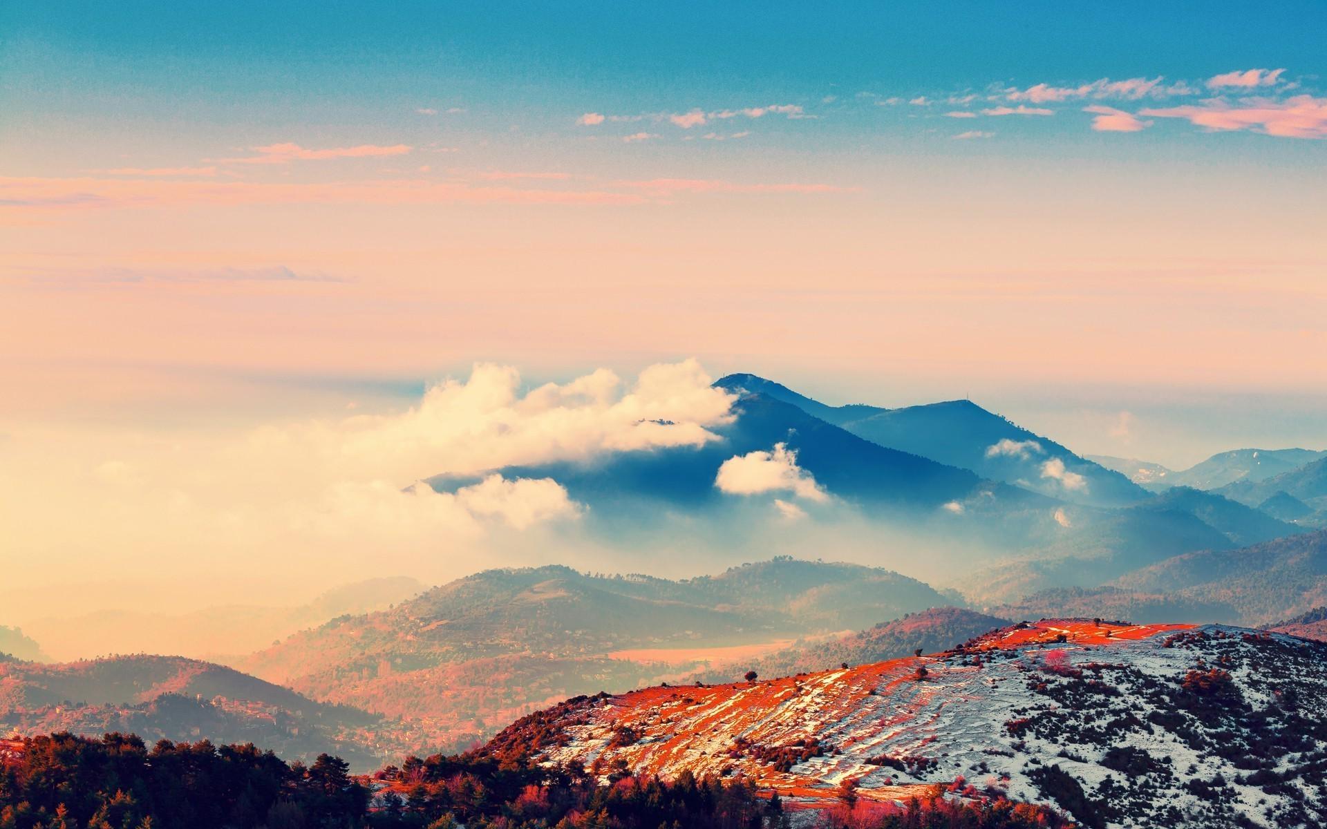 Wallpaper Sunset Hill Sky Clouds Sunrise Blue