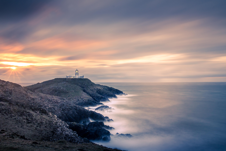 Wallpaper Sunset Lighthouse Coast Longexposure Sea Rocks Images, Photos, Reviews