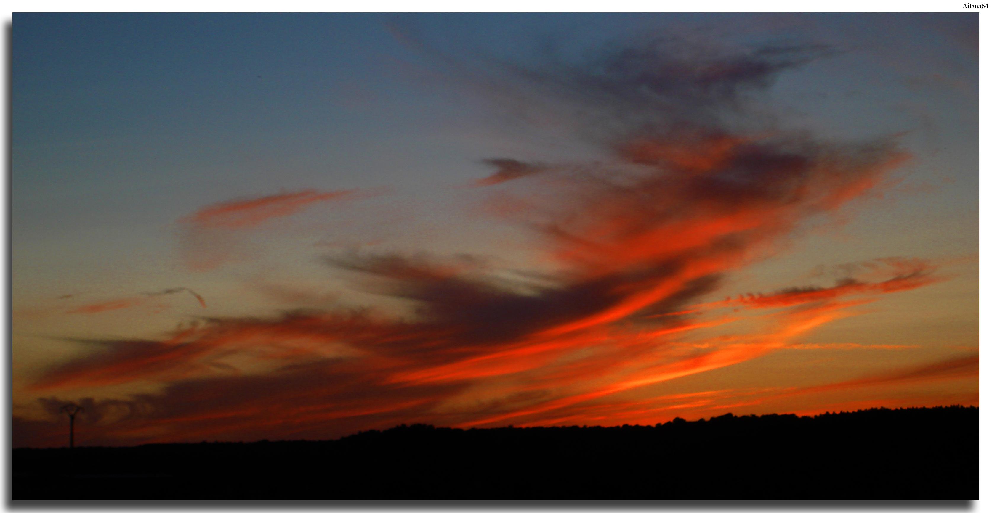 Wallpaper Sunset Red Sky Sunrise Blue Fire Horizon
