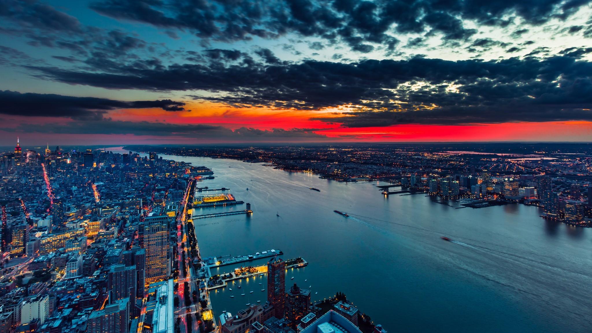 Sfondi tramonto mare citt paesaggio urbano baia for Sfondi 4k per pc