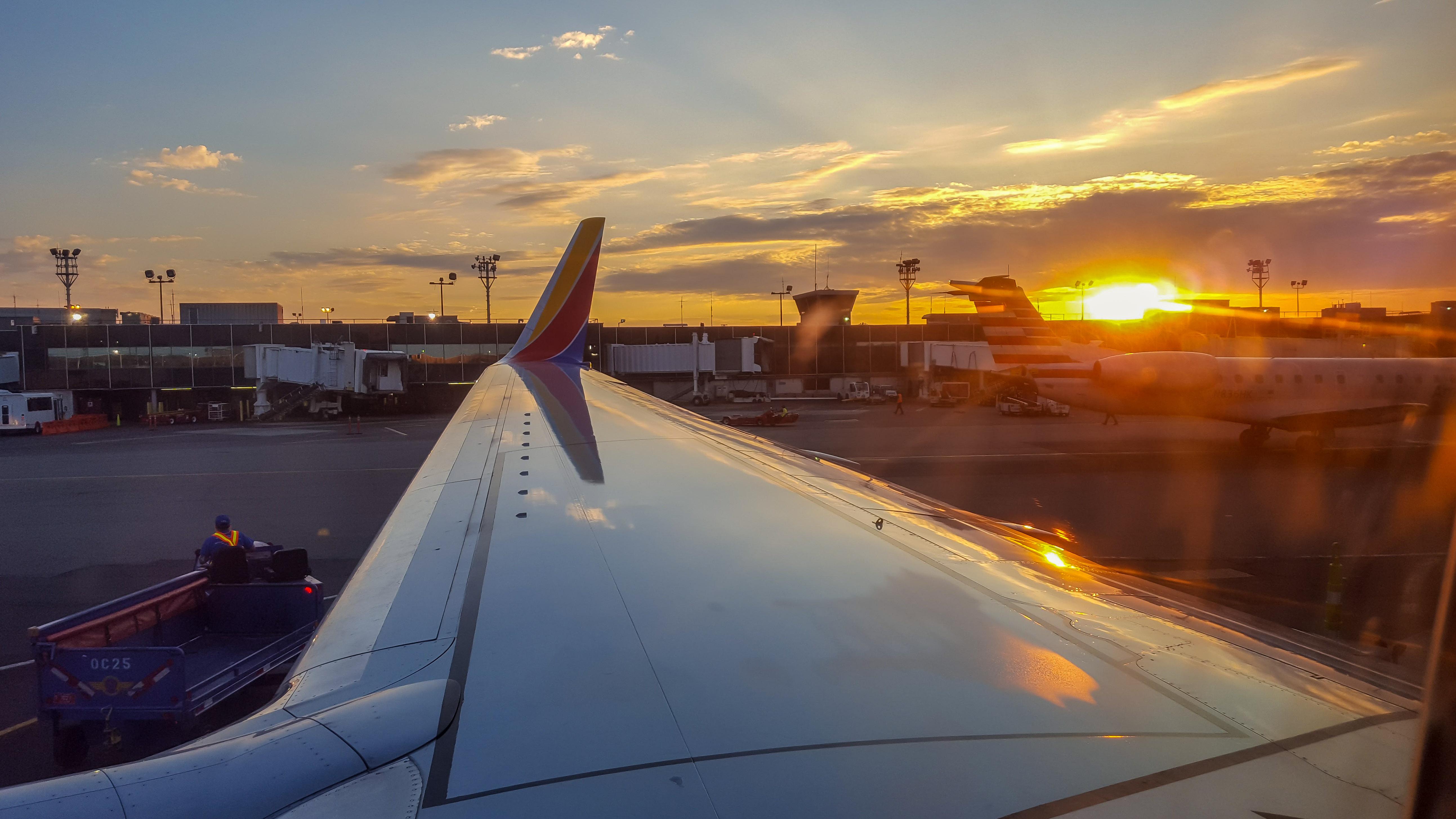 Aeroporto York : Papel de parede : pôr do sol céu nova york sudoeste cor