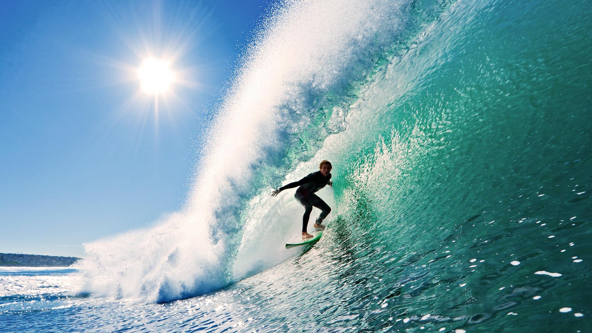 Surfing Wave Sun Sky