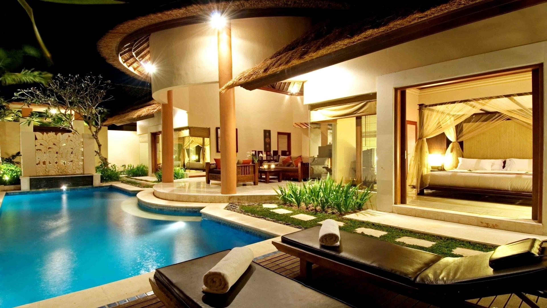 Обои бассейн, дизайн, ночь, особняк. Города foto 15