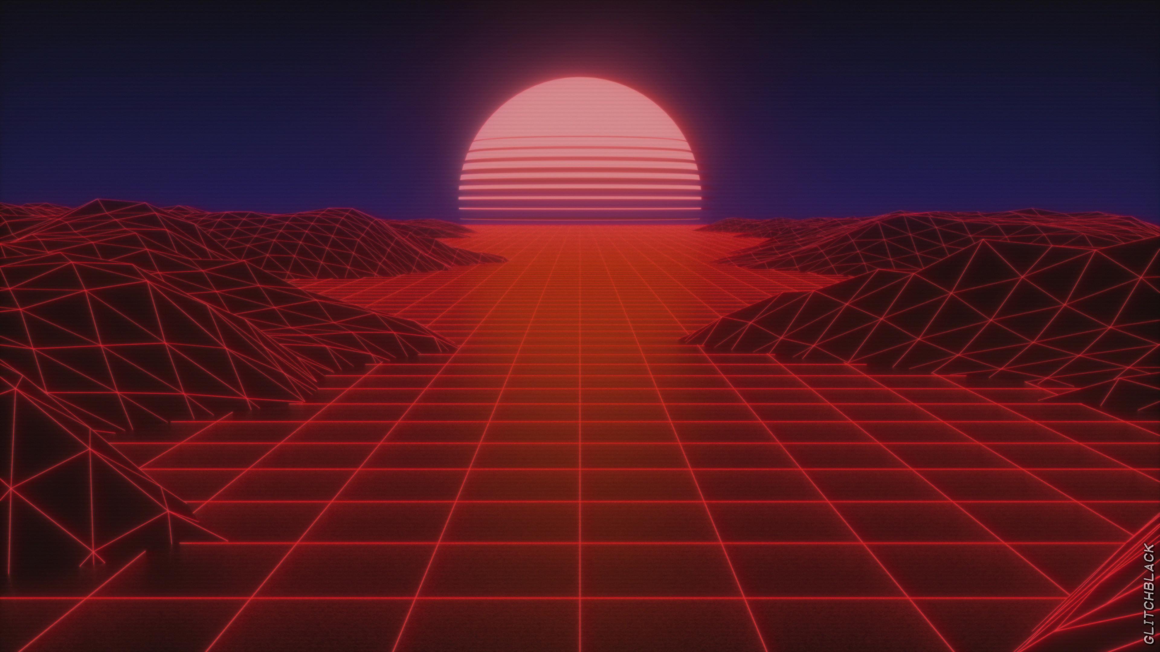 Wallpaper Synthwave Sun Vaporwave 3840x2160 Antistar