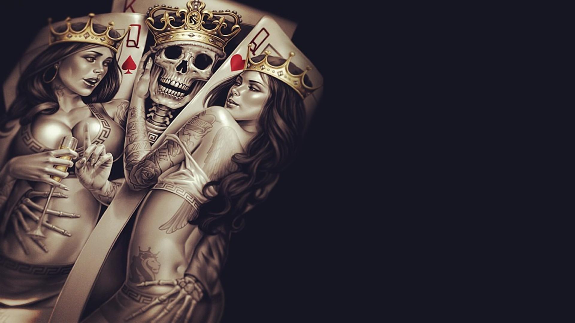 Fond D Écran Tatouage fond d'écran : tatouage, cartes, crâne, bras, 1920x1080 px, papier