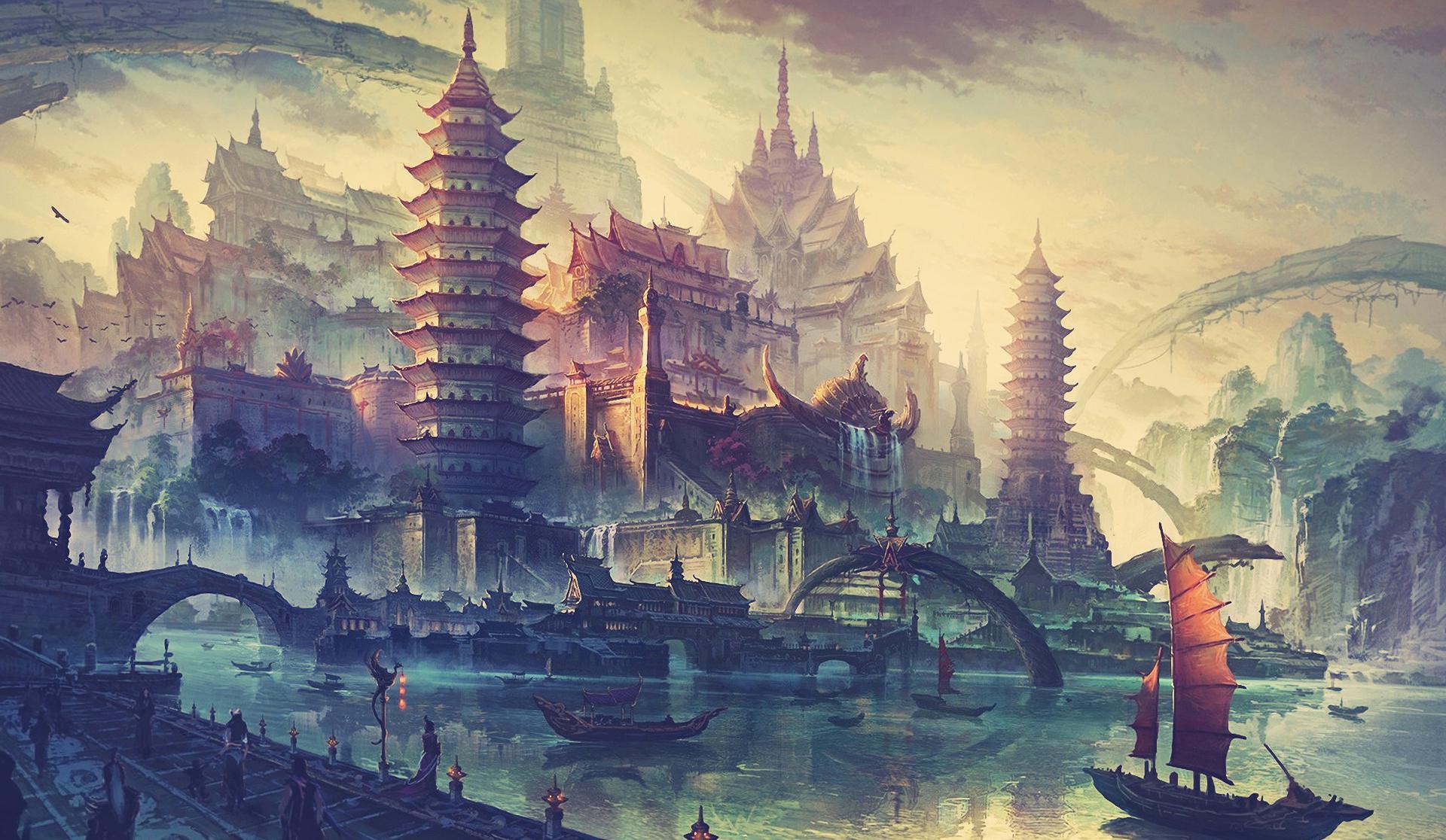 Japanese Landscape Painting Wallpaper Wallpaper : temple, la...
