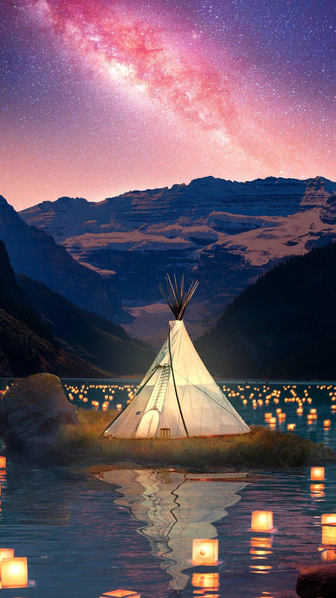 Wallpaper Tent Mountains Stars Vertical Portrait Display 1152x2048 Devilson 1691689 Hd Wallpapers Wallhere
