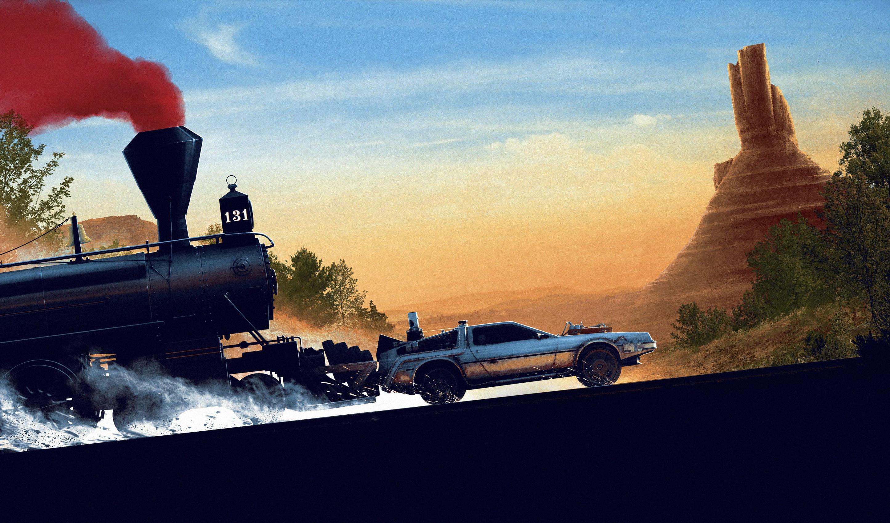Wallpaper Train Time Machine Delorean Car Movies Back To