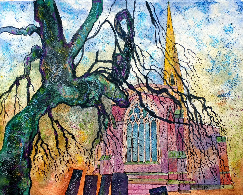 Masaüstü Ağaç Sanat Kilise Boyama Karışık Medya Lincolnshire