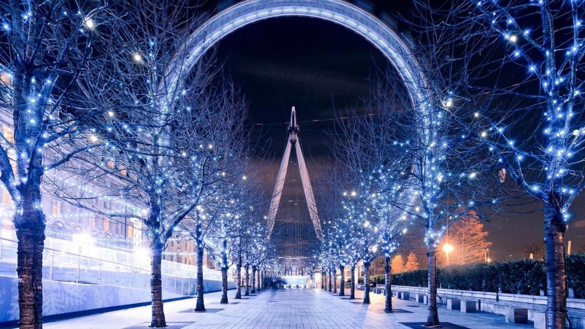 trees London city night reflection sky snow winter symmetry ice arch path christmas lights London Eye light lighting christmas decoration 190543