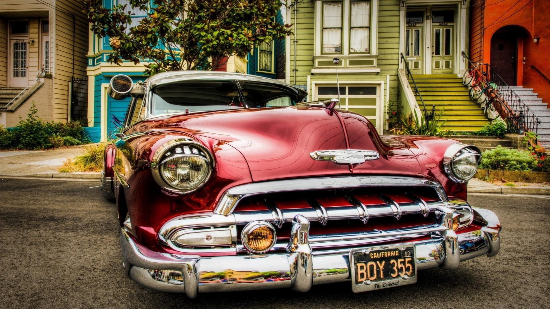 Wallpaper Trees Urban House Red Cars Vintage Vintage Car