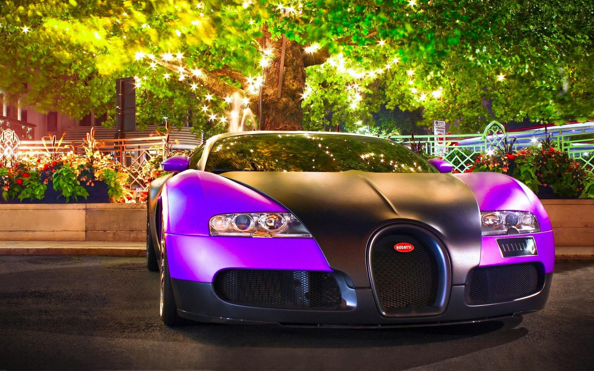 Wallpaper Trees Purple Super Car Sports Car Bugatti Veyron