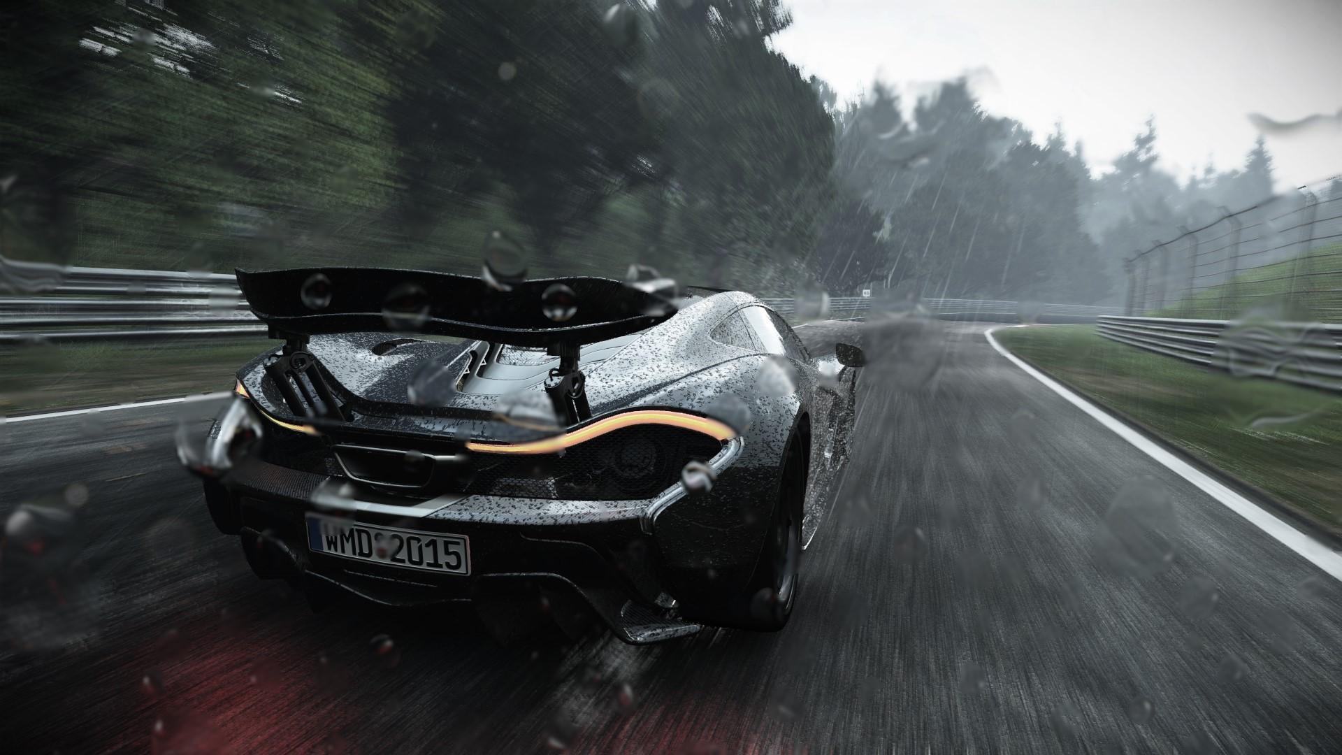 Wallpaper Trees Digital Art Video Games Race Cars Rain