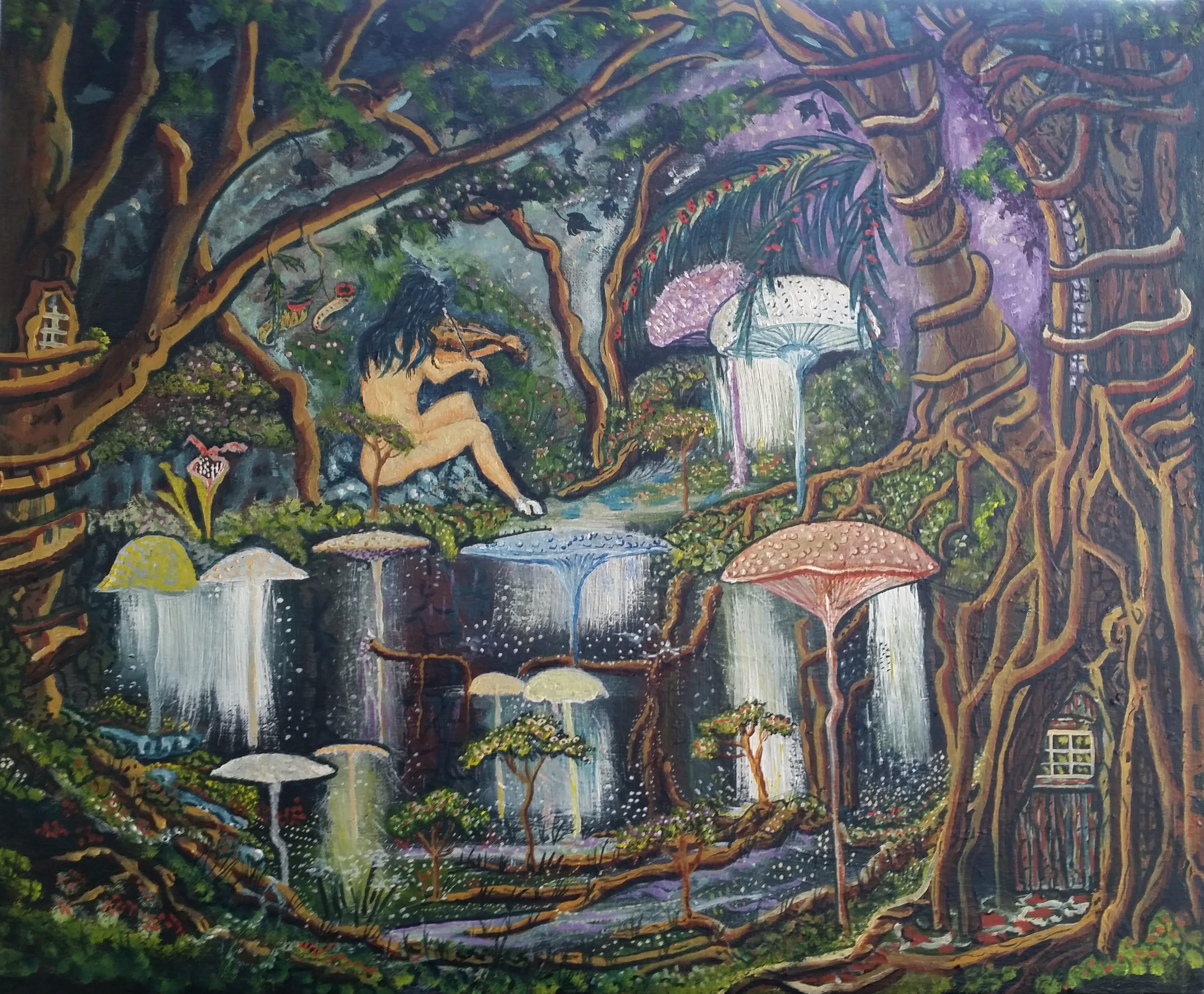 Fond d 39 cran des arbres dessin la peinture for Dessin mural peinture