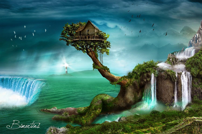 Wallpaper trees fall mountains digital art birds - Fantasy desktop pictures ...