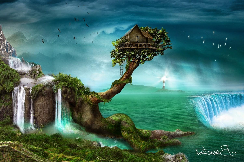 картинка дерево с водопадом творческими успехами него