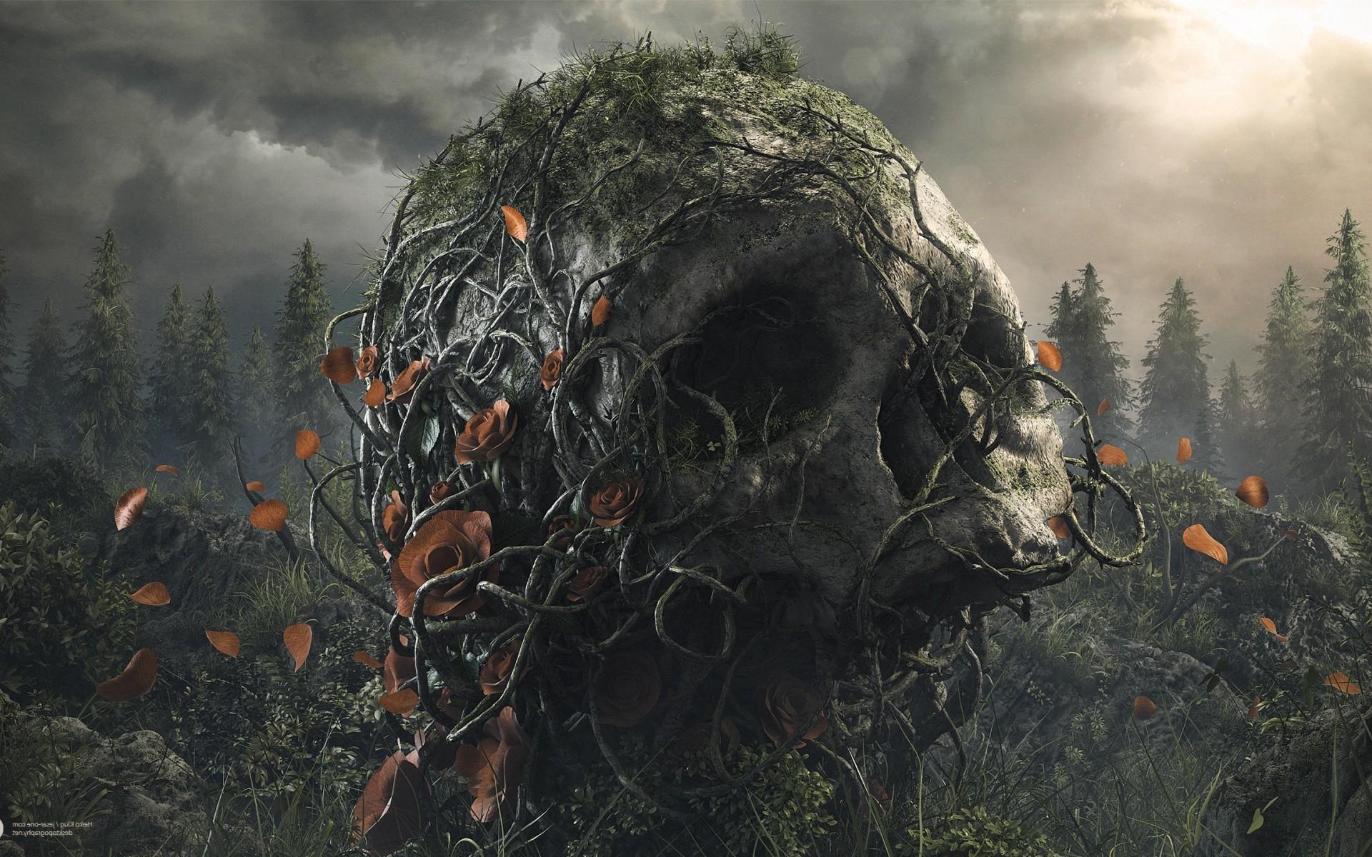 Trees Forest Digital Art Dark Flowers Nature Plants Artwork Clouds Soldier Petals Rose Skull Roots Desktopography