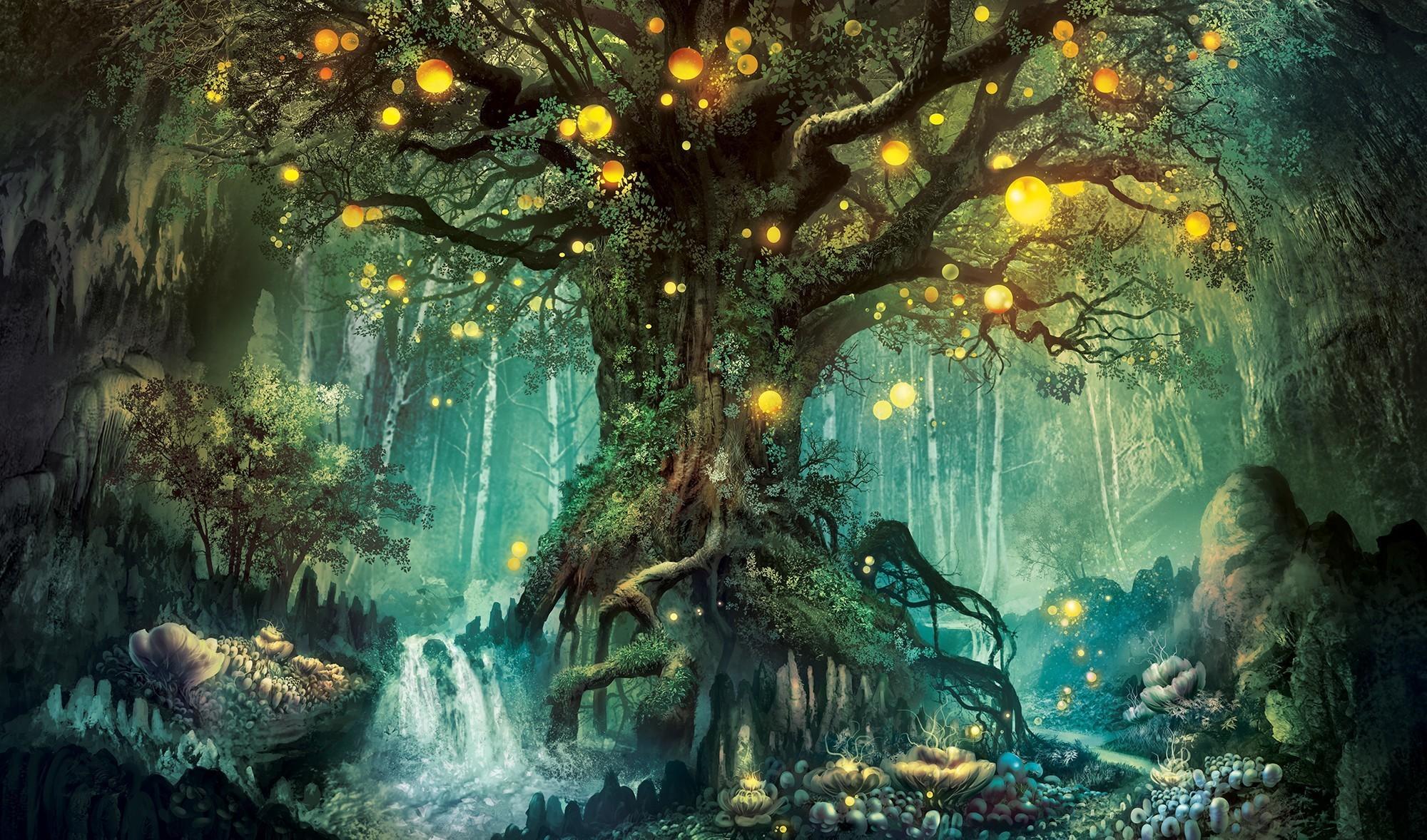 картинки деревья фэнтези мхи папоротники