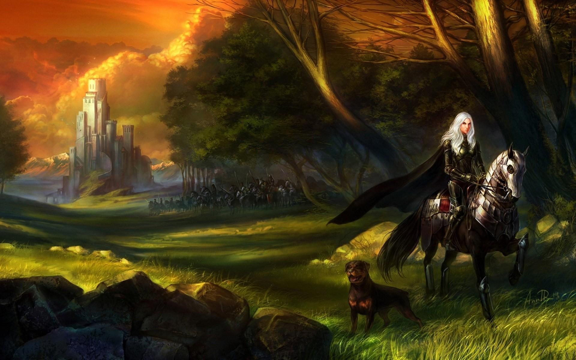 Wallpaper Trees Forest Women Fantasy Art White Hair Knight