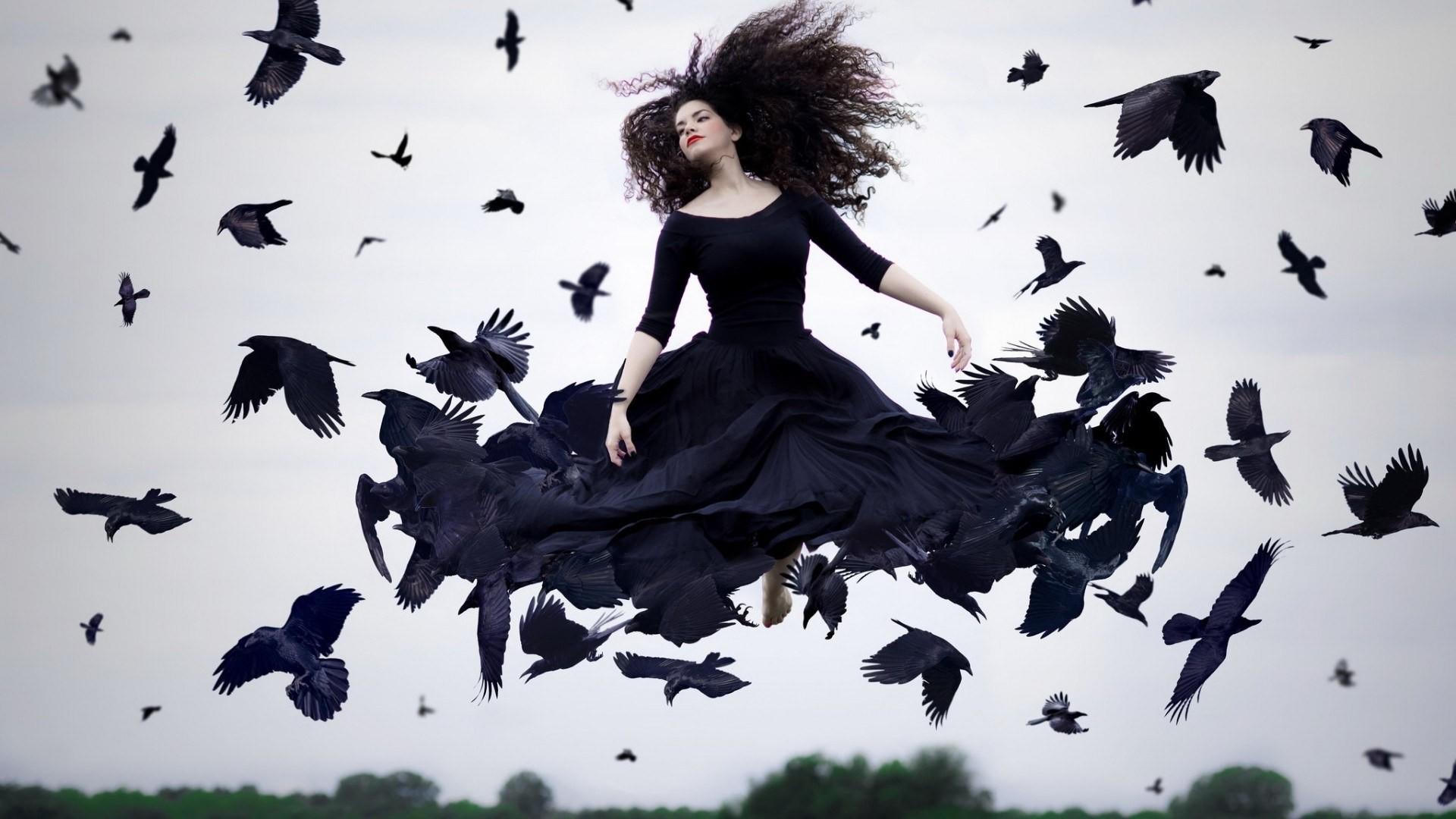Papel de parede : Árvores, ilustração, Pássaros, Mulheres ...