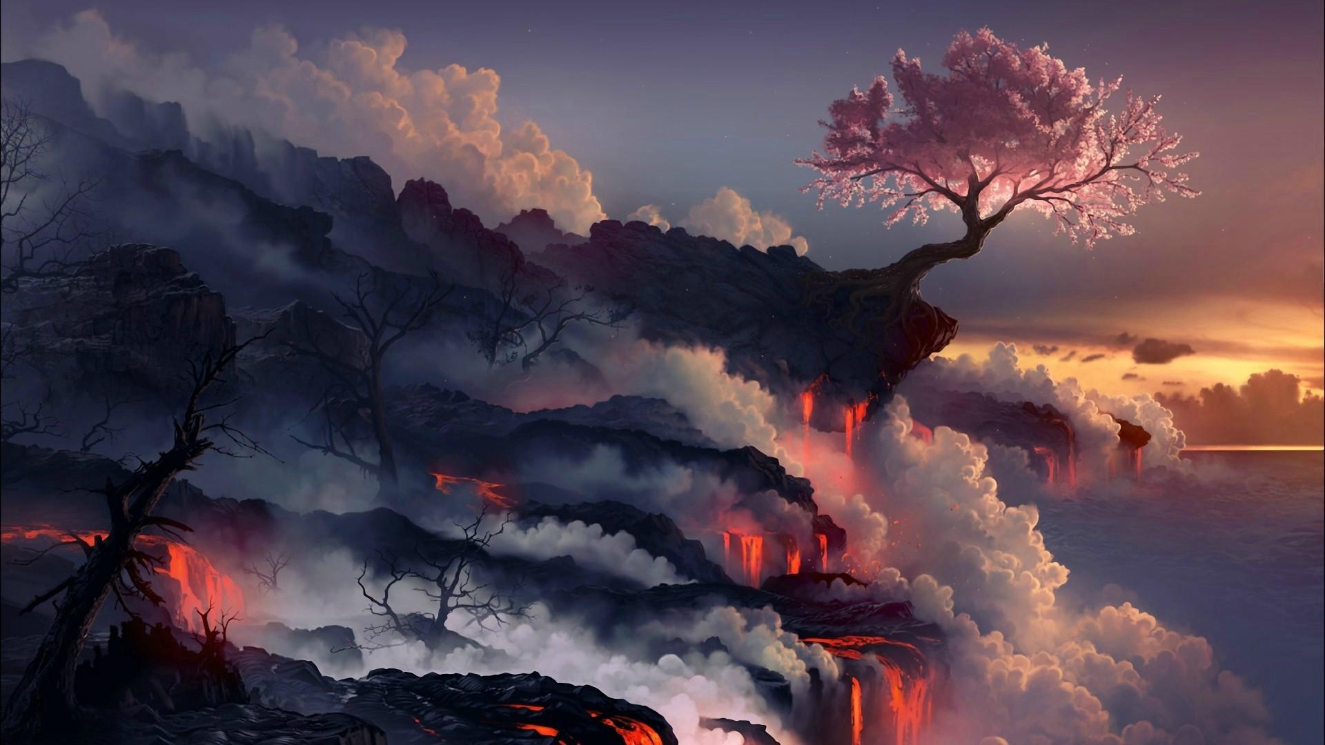 Wallpaper Trees Landscape Digital Art Fantasy Art