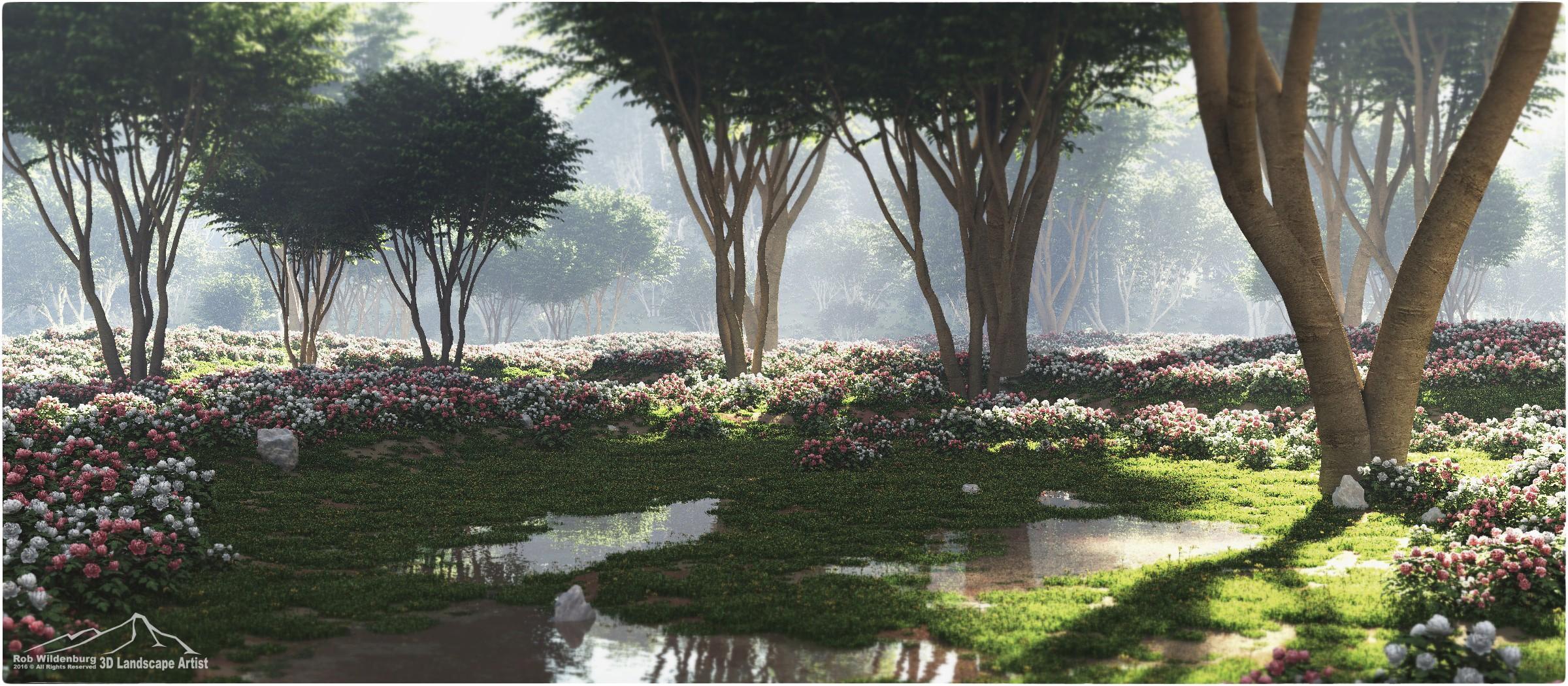 Sfondi alberi paesaggio arte digitale fiori acqua for Giardino 3d gratis italiano