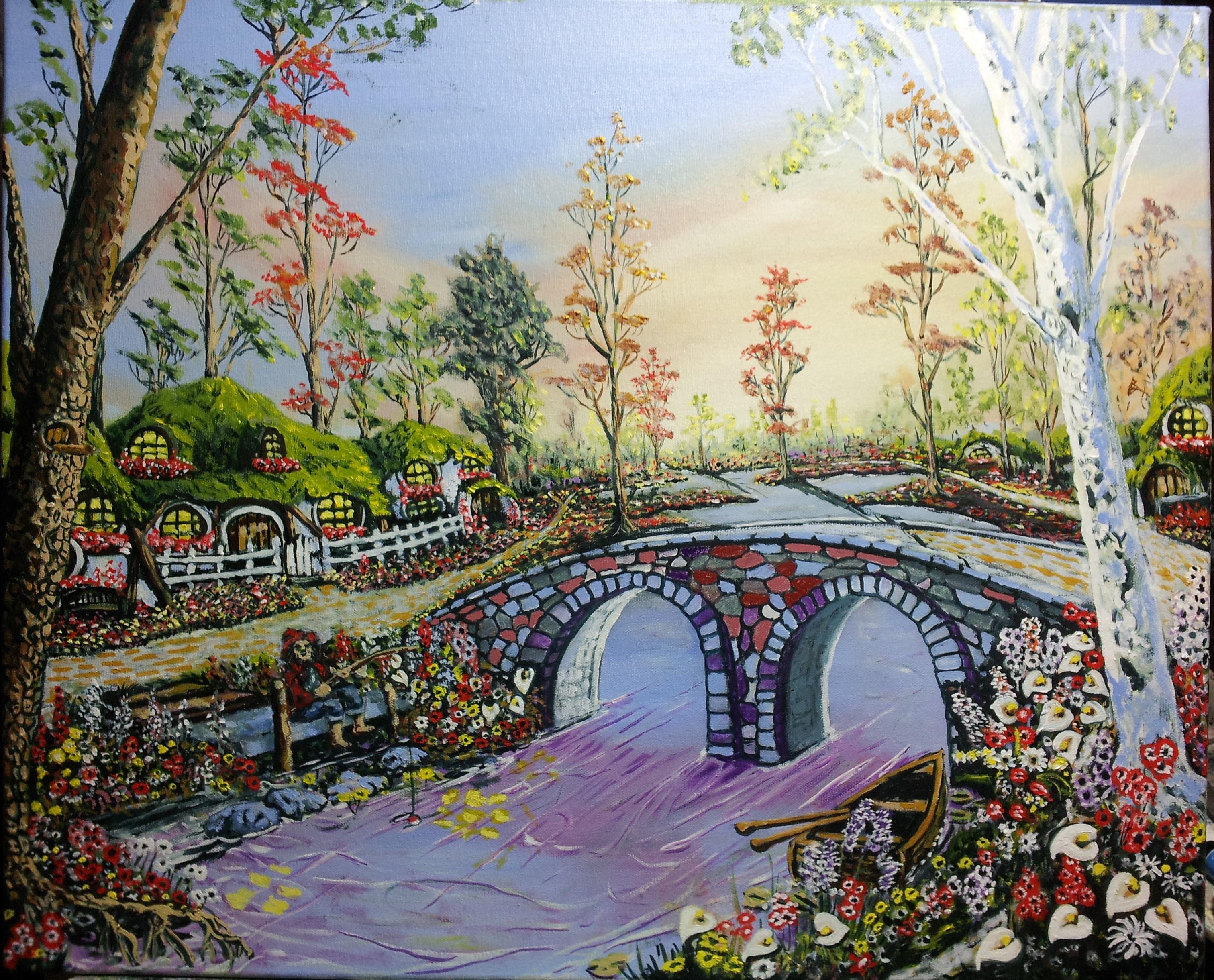 Sfondi alberi paesaggio disegno la pittura barca fiori giardino acqua nuvole surreale - Fiori da giardino autunnali ...