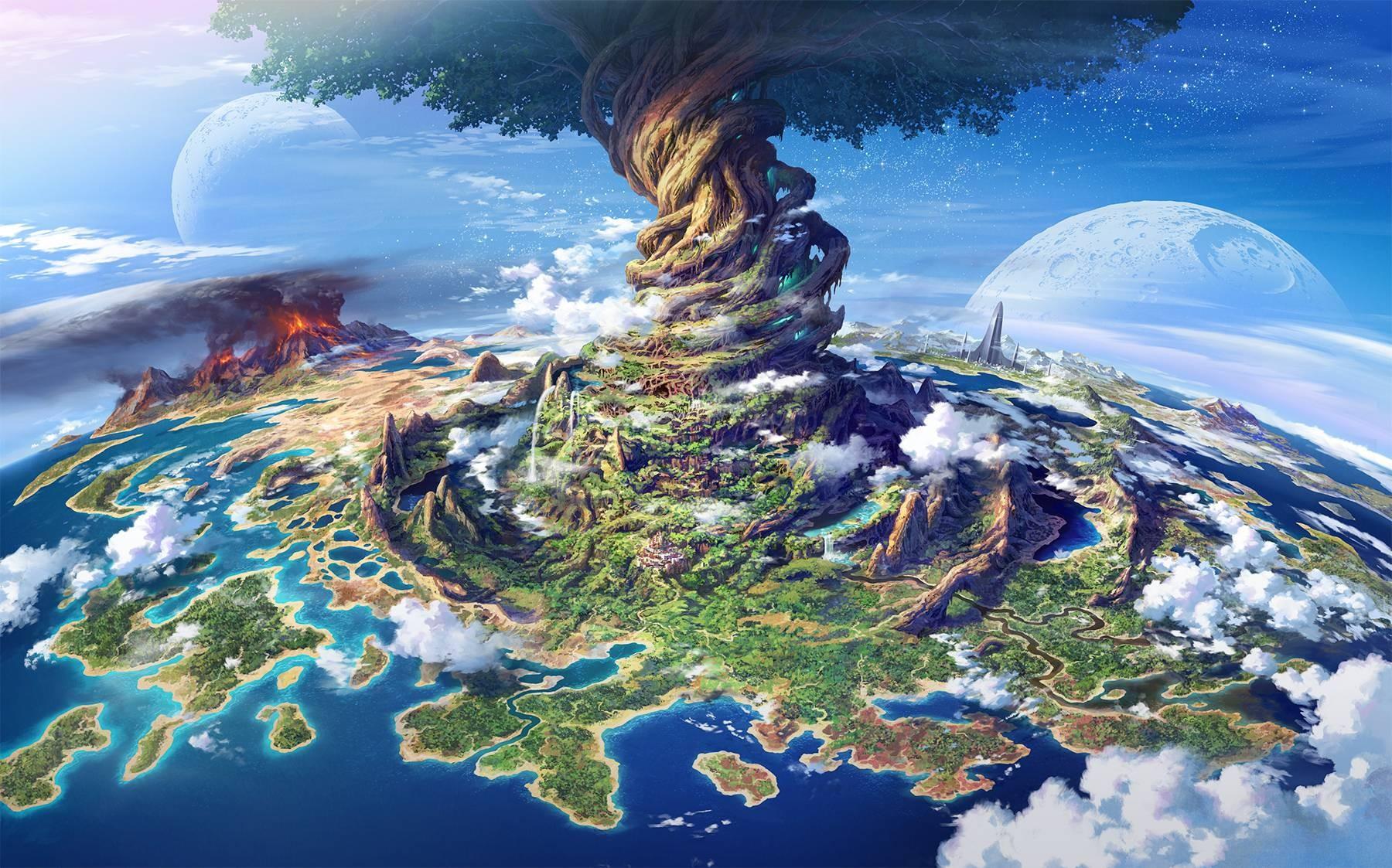 Wallpaper Trees Landscape Fantasy Art Anime Planet