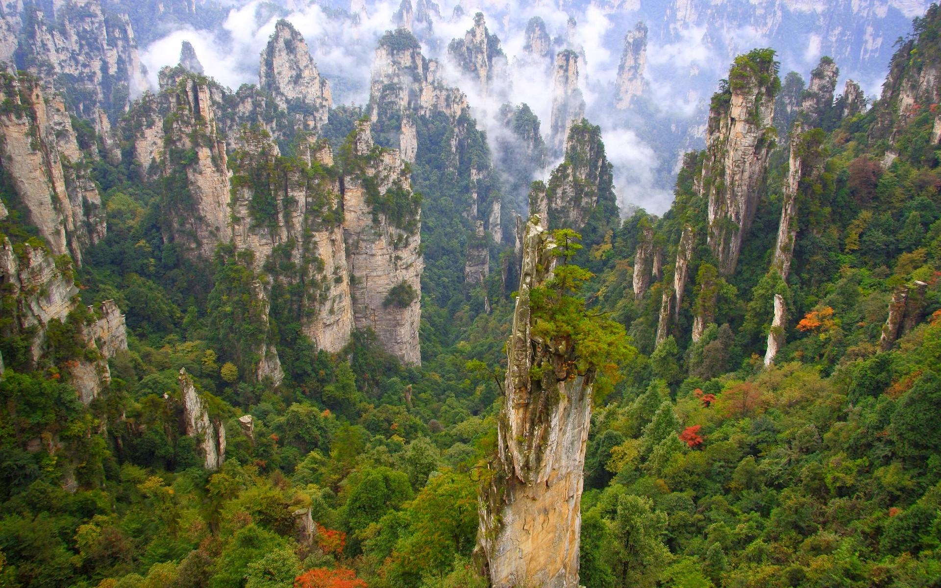 fond d 39 cran des arbres paysage chine colline roche la nature ciel des nuages vert. Black Bedroom Furniture Sets. Home Design Ideas