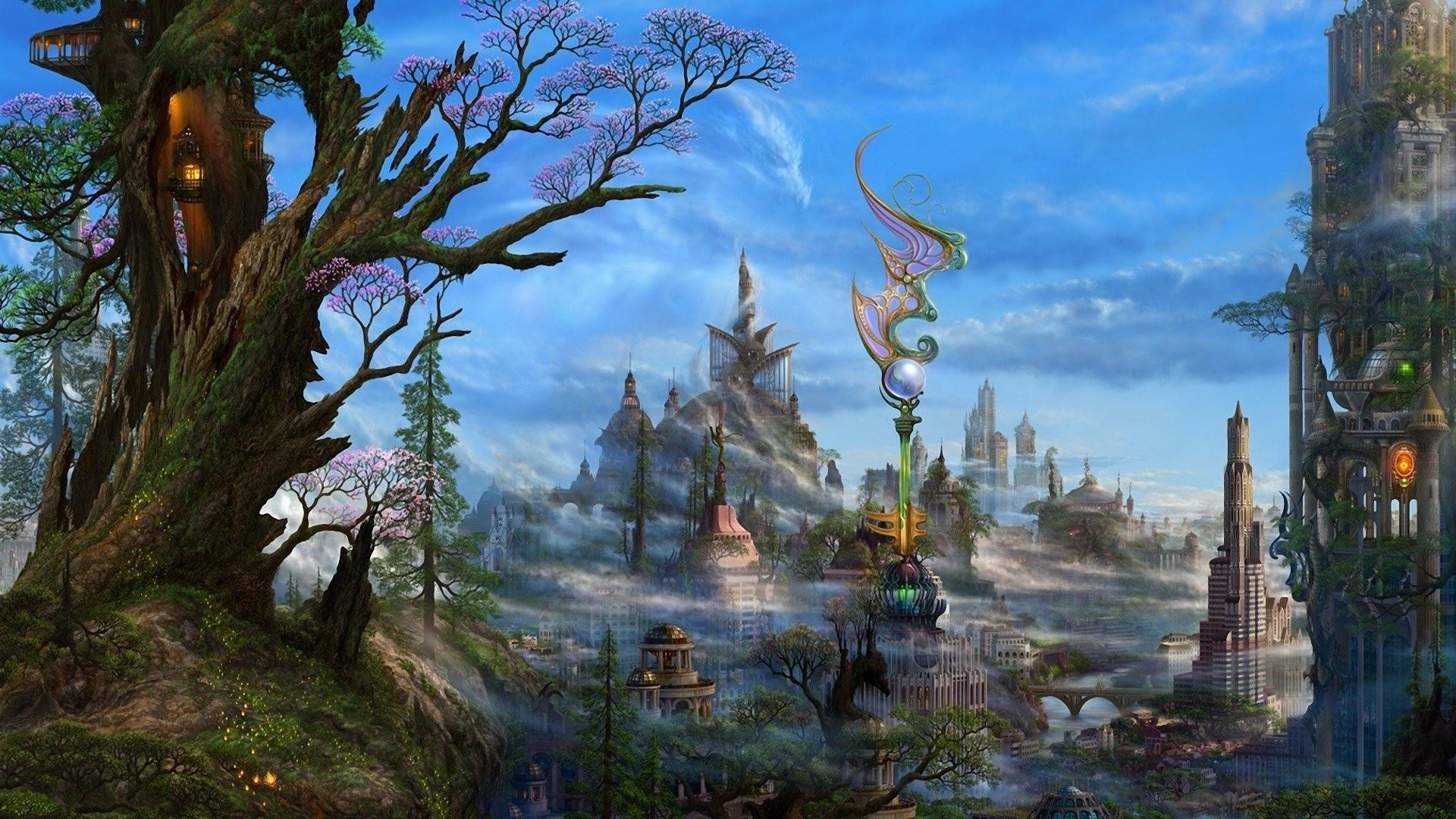 Wallpaper : trees, landscape, forest, digital art, fantasy art ... for Fantasy Water Landscape  150ifm