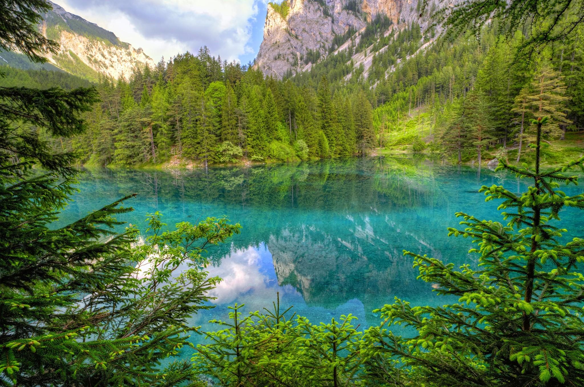 Sfondi alberi paesaggio montagne lago acqua for Acqua verde laghetto