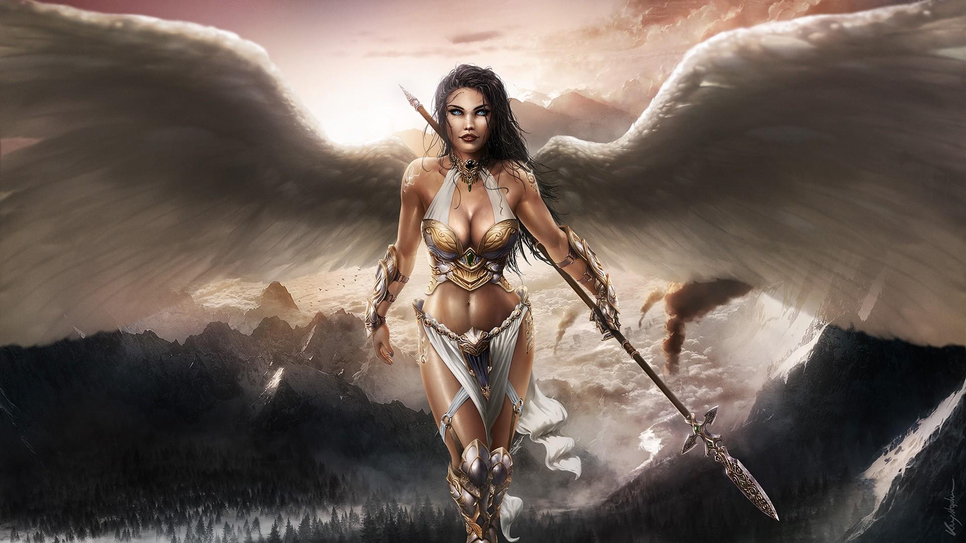 Wallpaper trees landscape forest mountains women - Fantasy female warrior artwork ...
