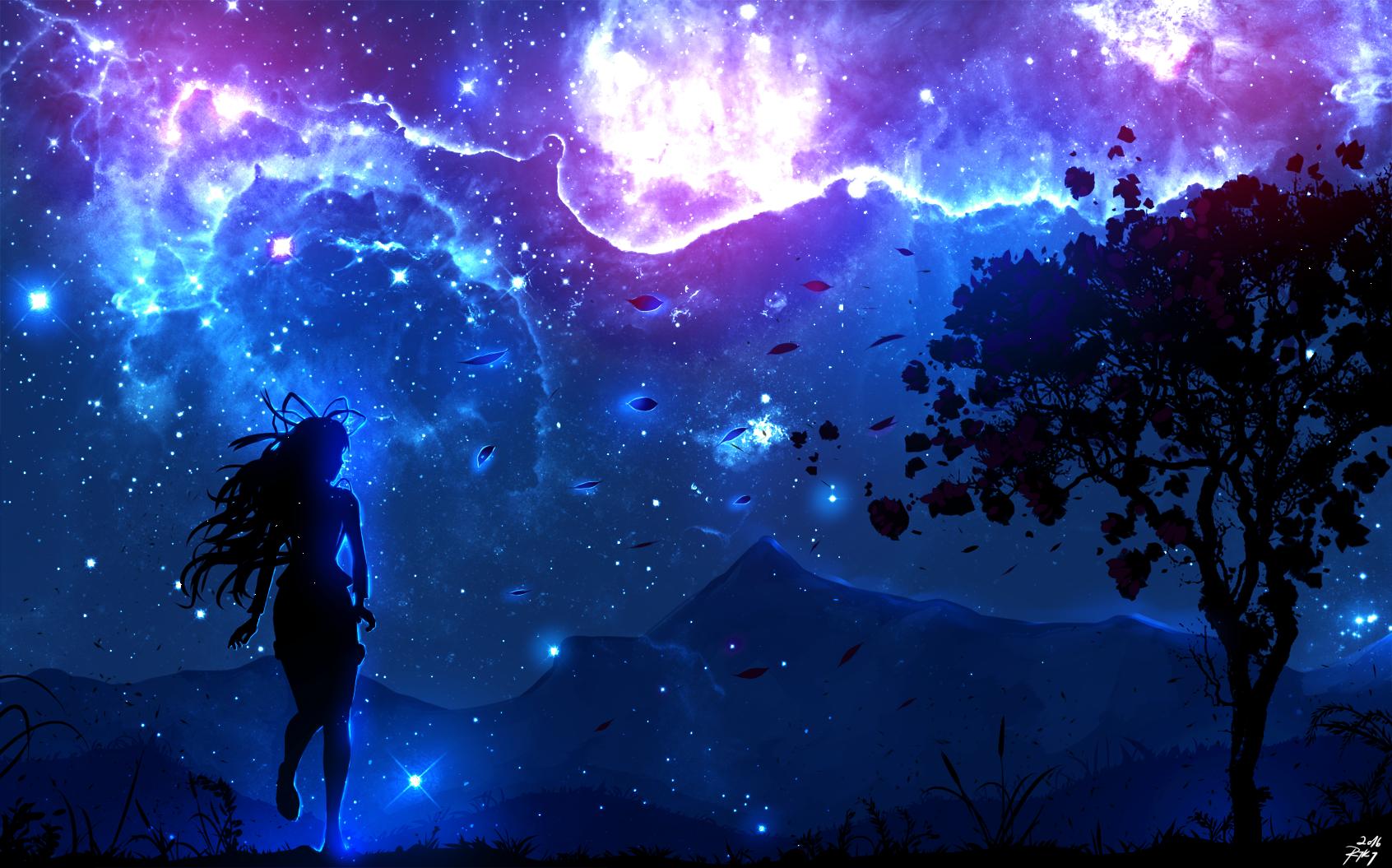 Wallpaper trees landscape illustration digital art night anime girls sky nebula - Midnight wallpaper hd ...