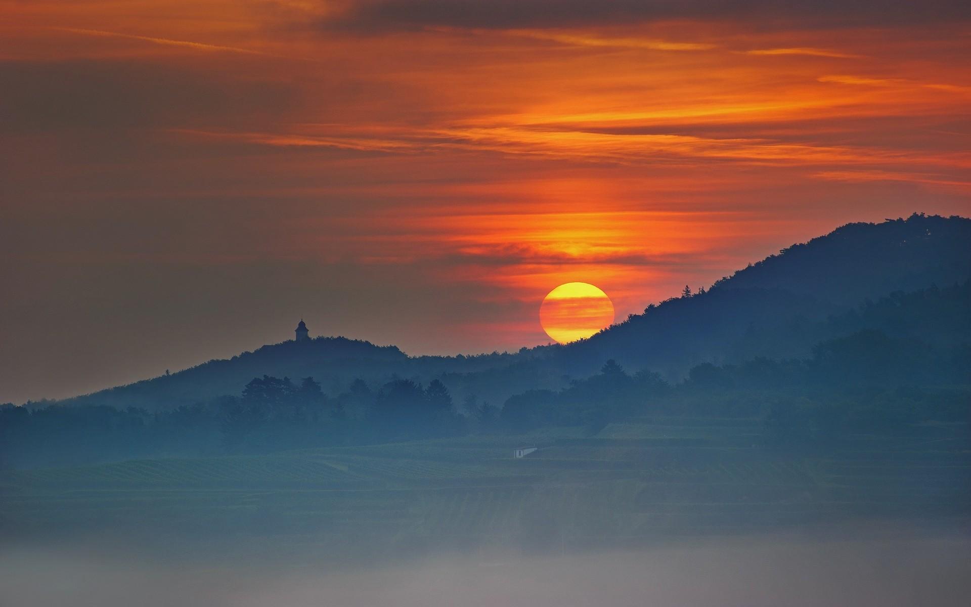 Wallpaper Trees Landscape Mountains Sunset Hill