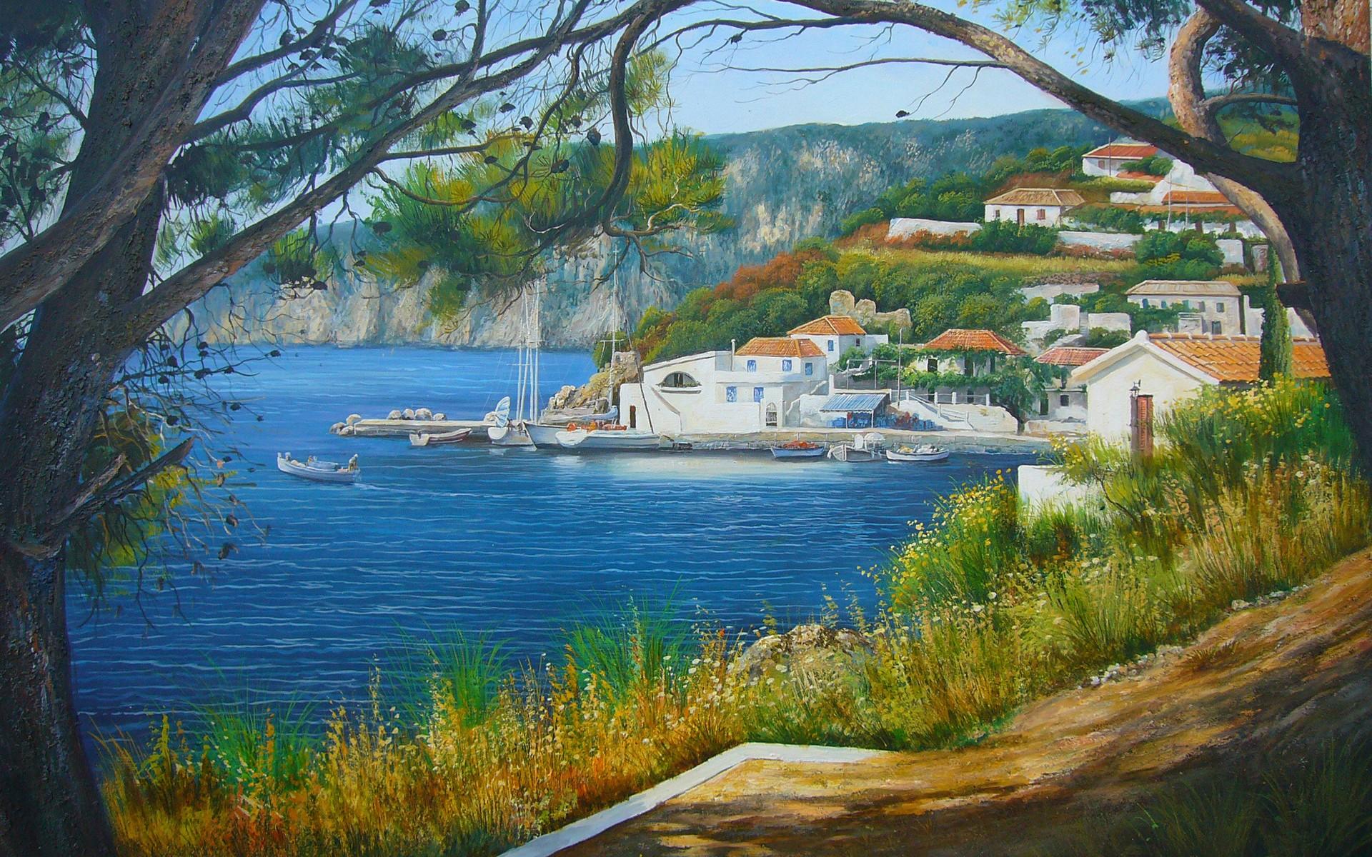Masaüstü Ağaçlar Manzara Boyama Göl Doğa Gökyüzü Resim Köy