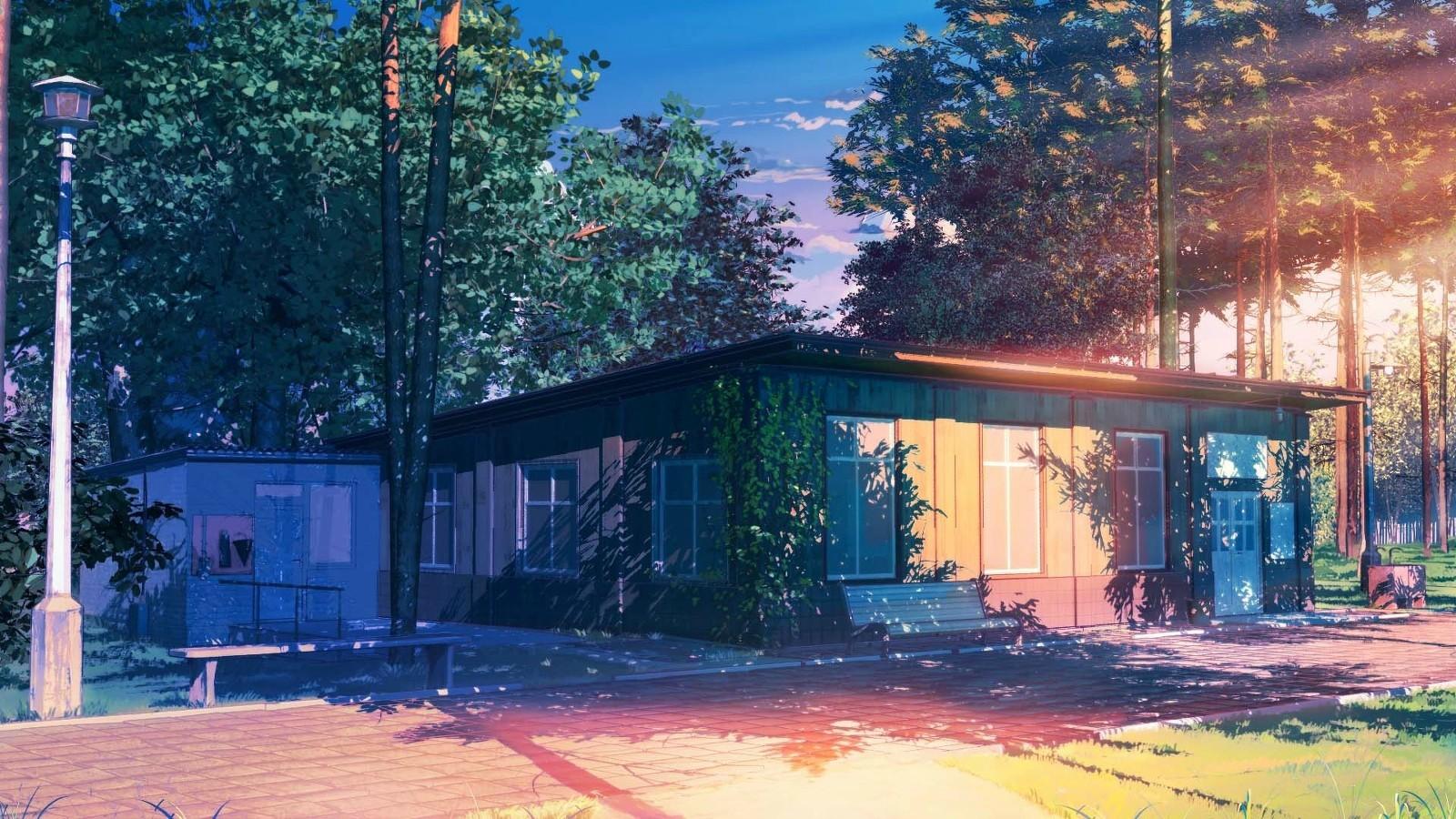 Fondos de pantalla rboles hojas anime naturaleza nubes casa sol patio interior - Ley propiedad horizontal patio interior ...