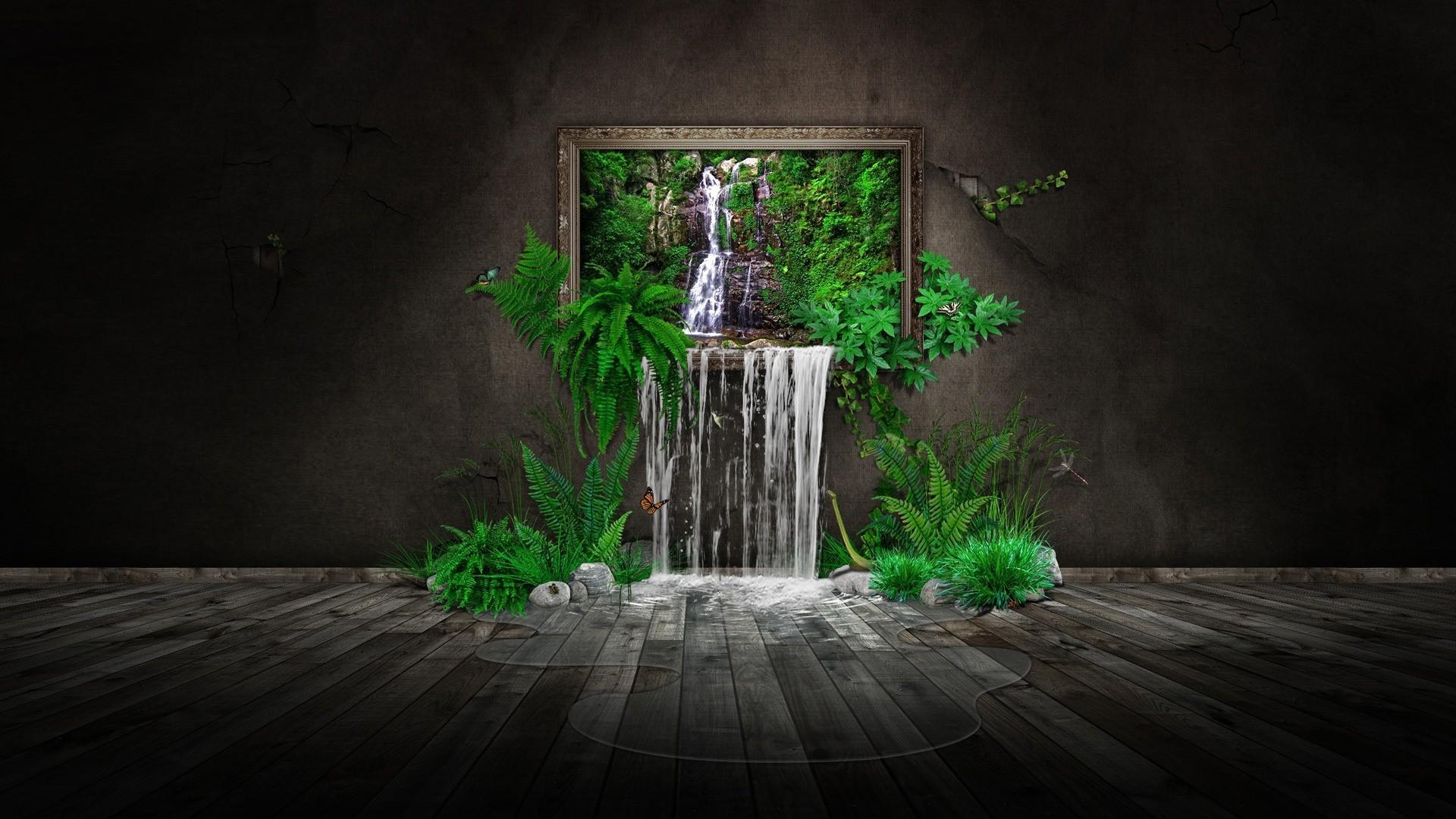 Fondos de pantalla : Árboles, hojas, cascada, arte digital, noche ...
