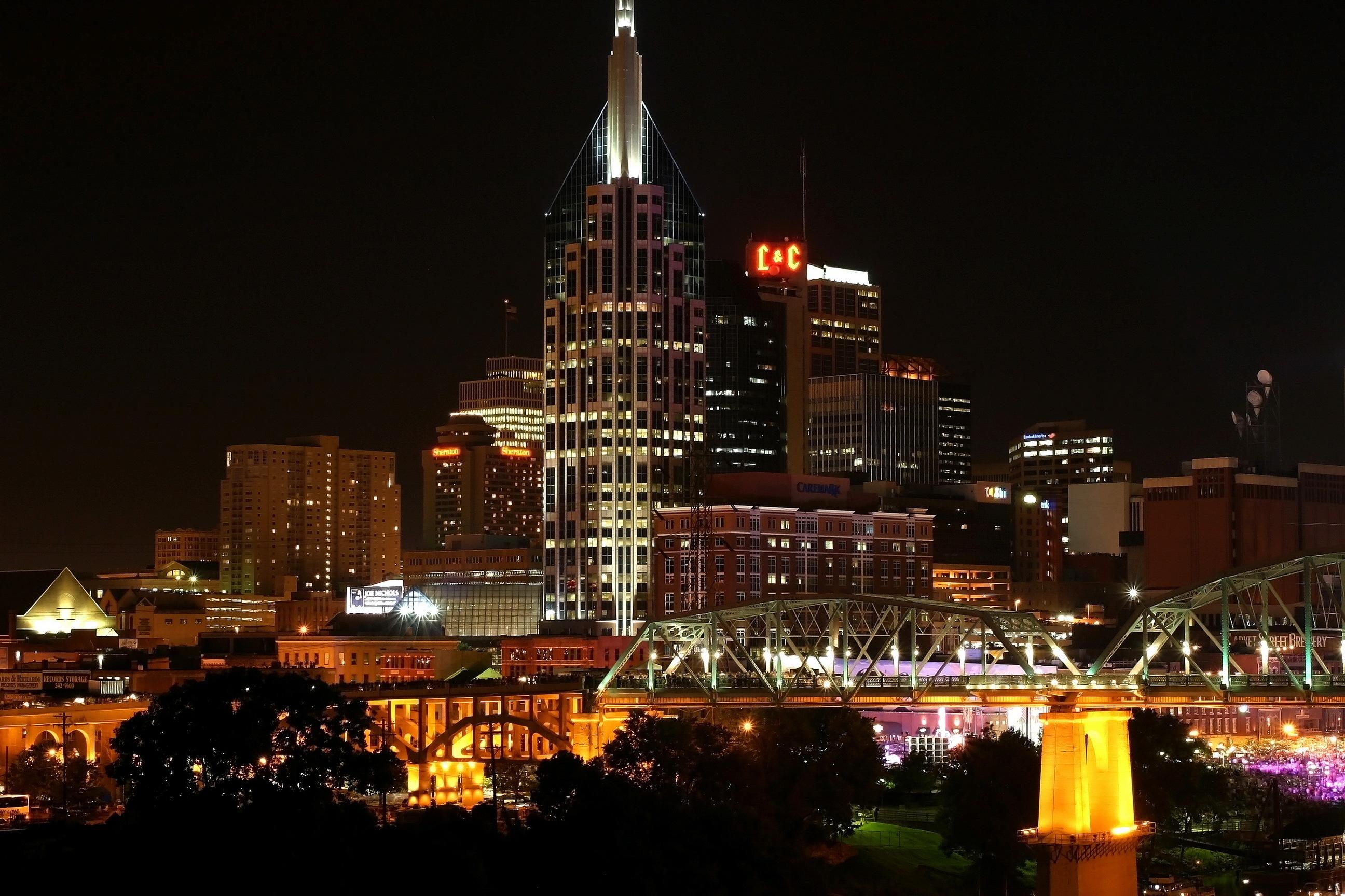 Wallpaper Trees Lights City Cityscape Night Skyline