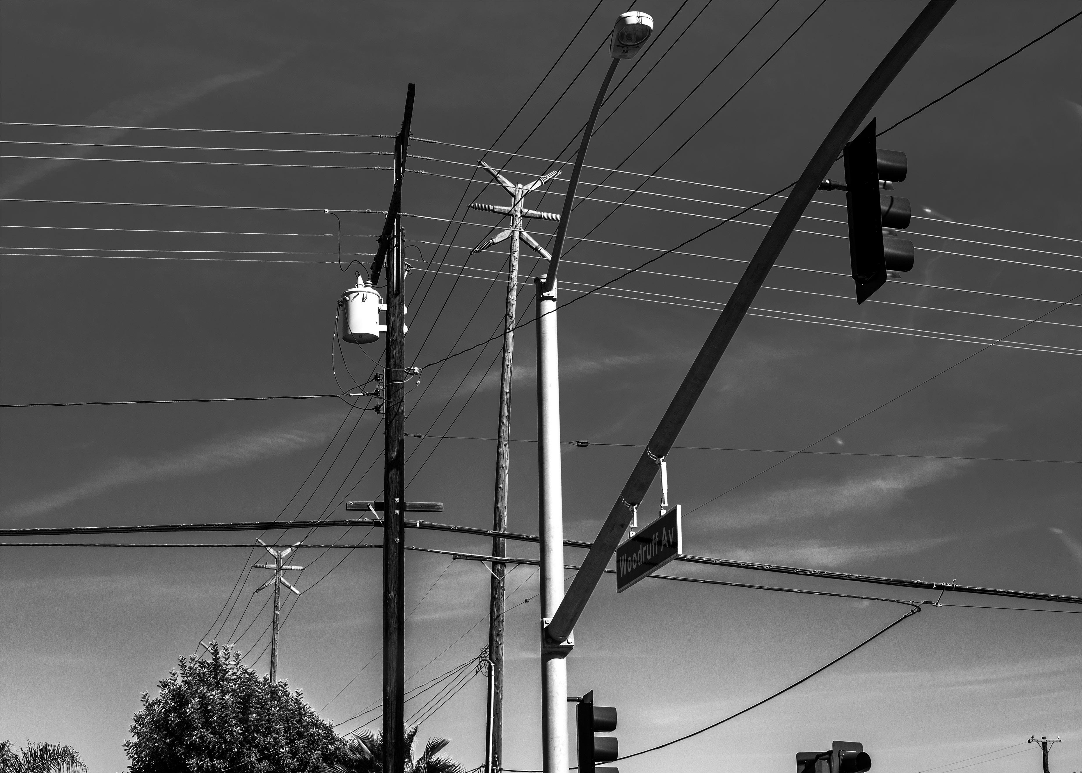 Wallpaper : trees, lights, street light, sky, wind, telephone, wires ...