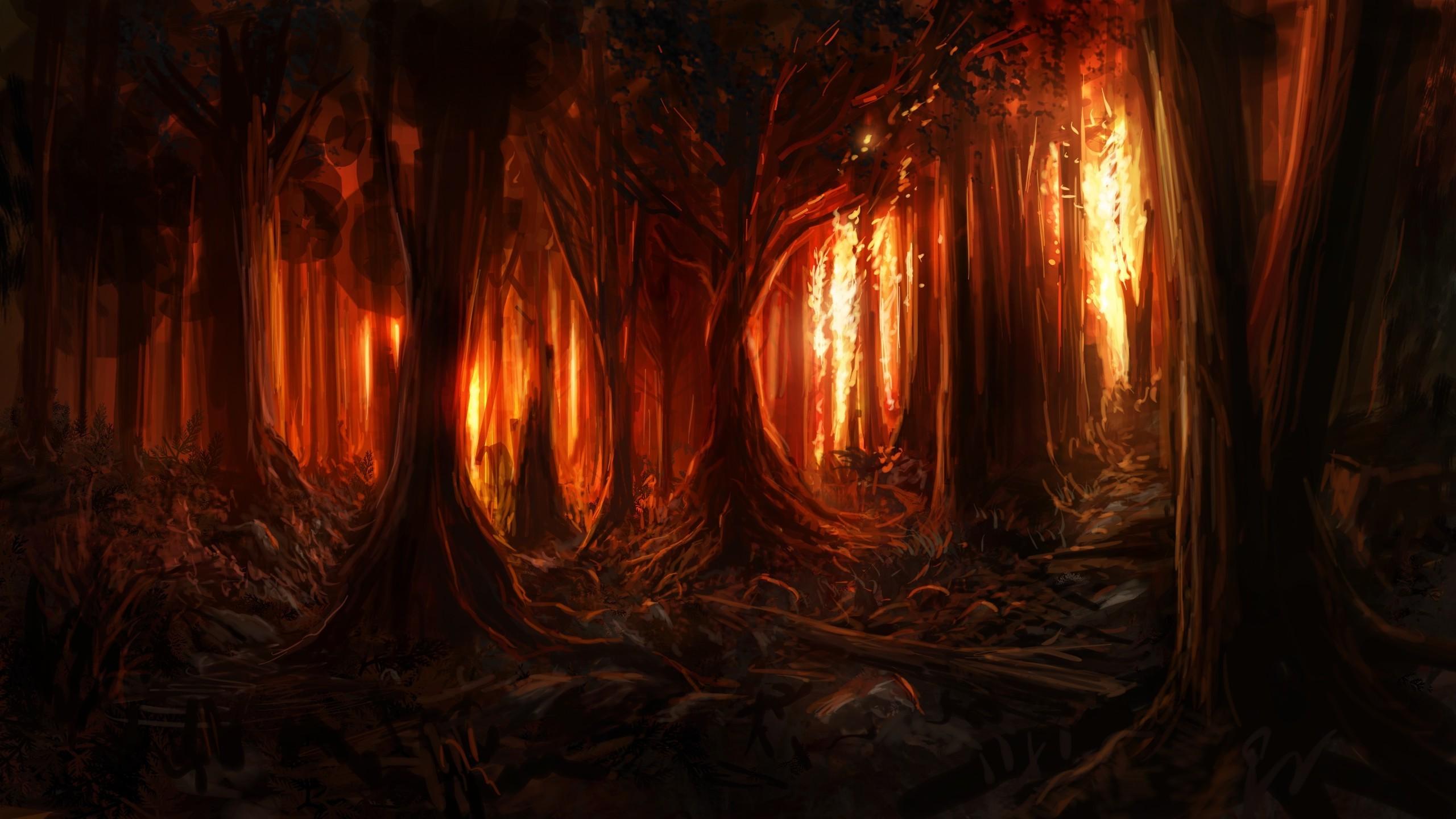 Masaüstü Ağaçlar Boyama Orman Dijital Sanat Doğa Resim Ahşap