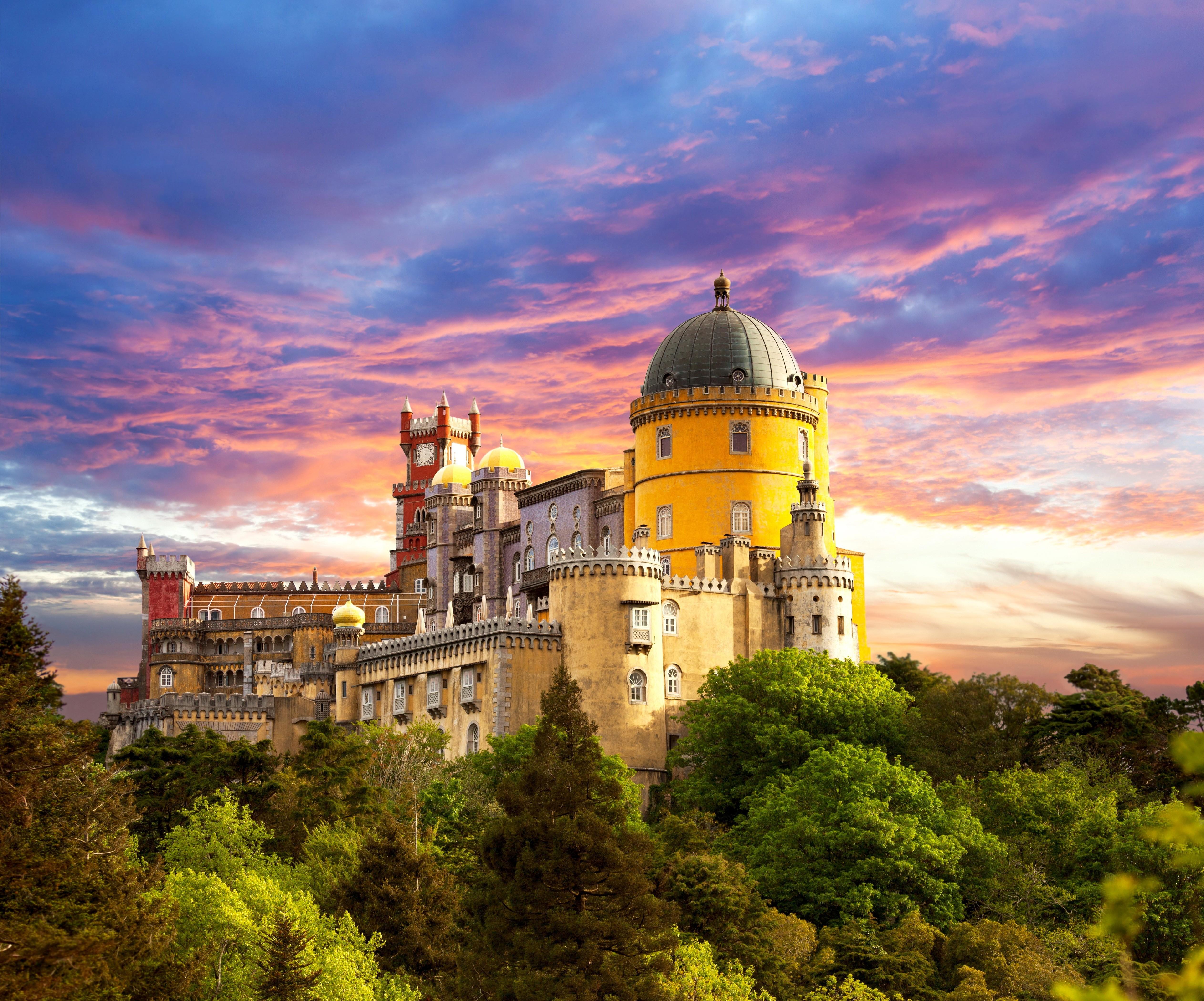 Un Chateau Dans Les Nuages fond d'écran : des arbres, le coucher du soleil, paysage