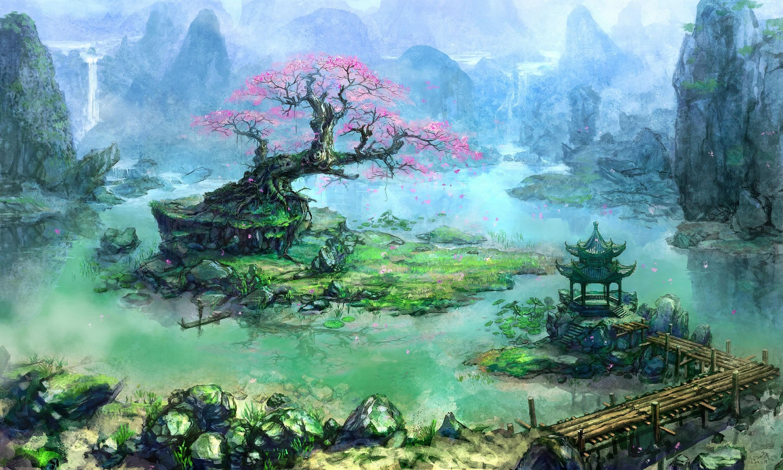 Fond d 39 cran des arbres cascade art fantastique for Architecture fantastique